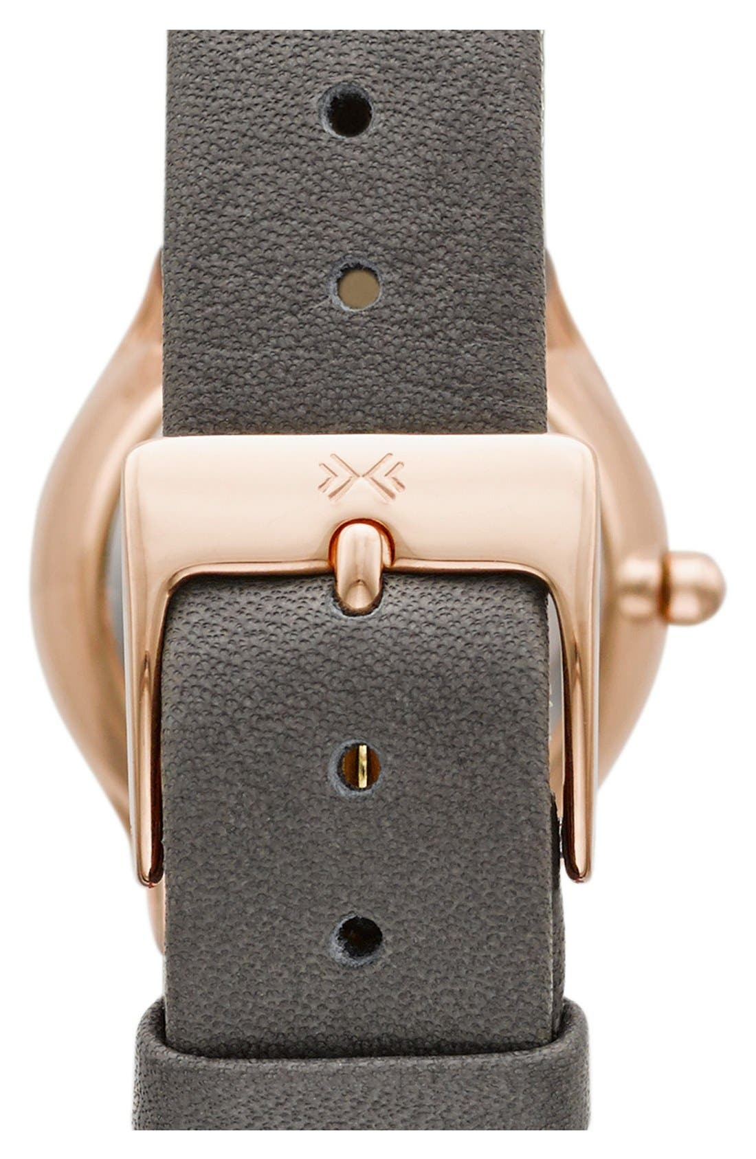 Alternate Image 2  - Skagen 'Grenen' Crystal Marker Leather Strap Watch, 24mm