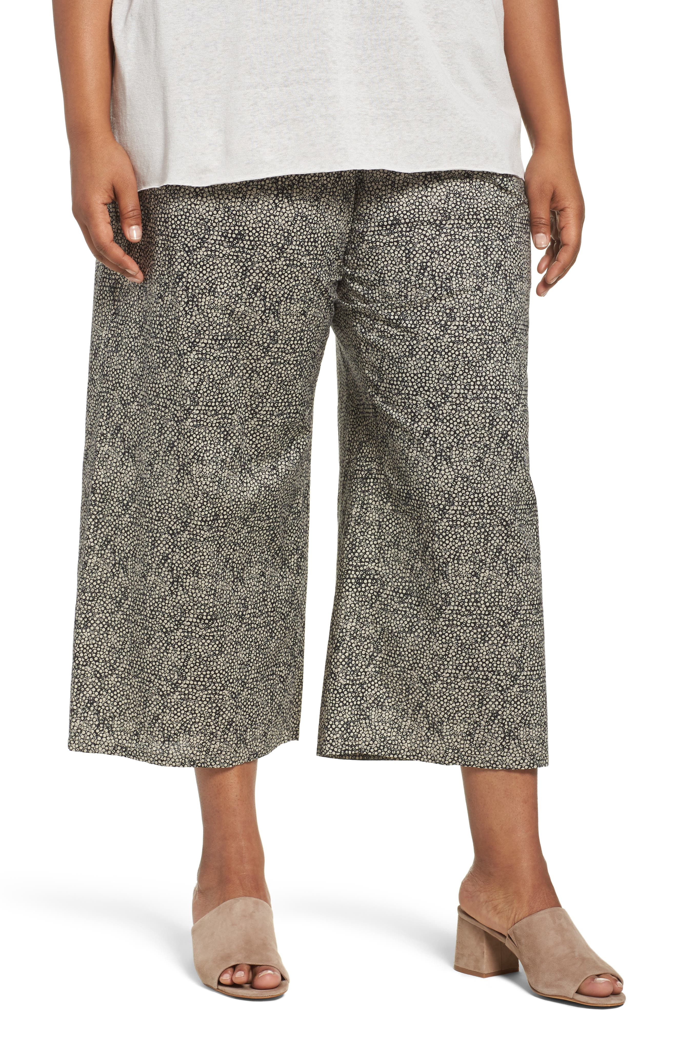 Eileen Fisher Droplet Print Organic Cotton Crop Pants (Plus Size)