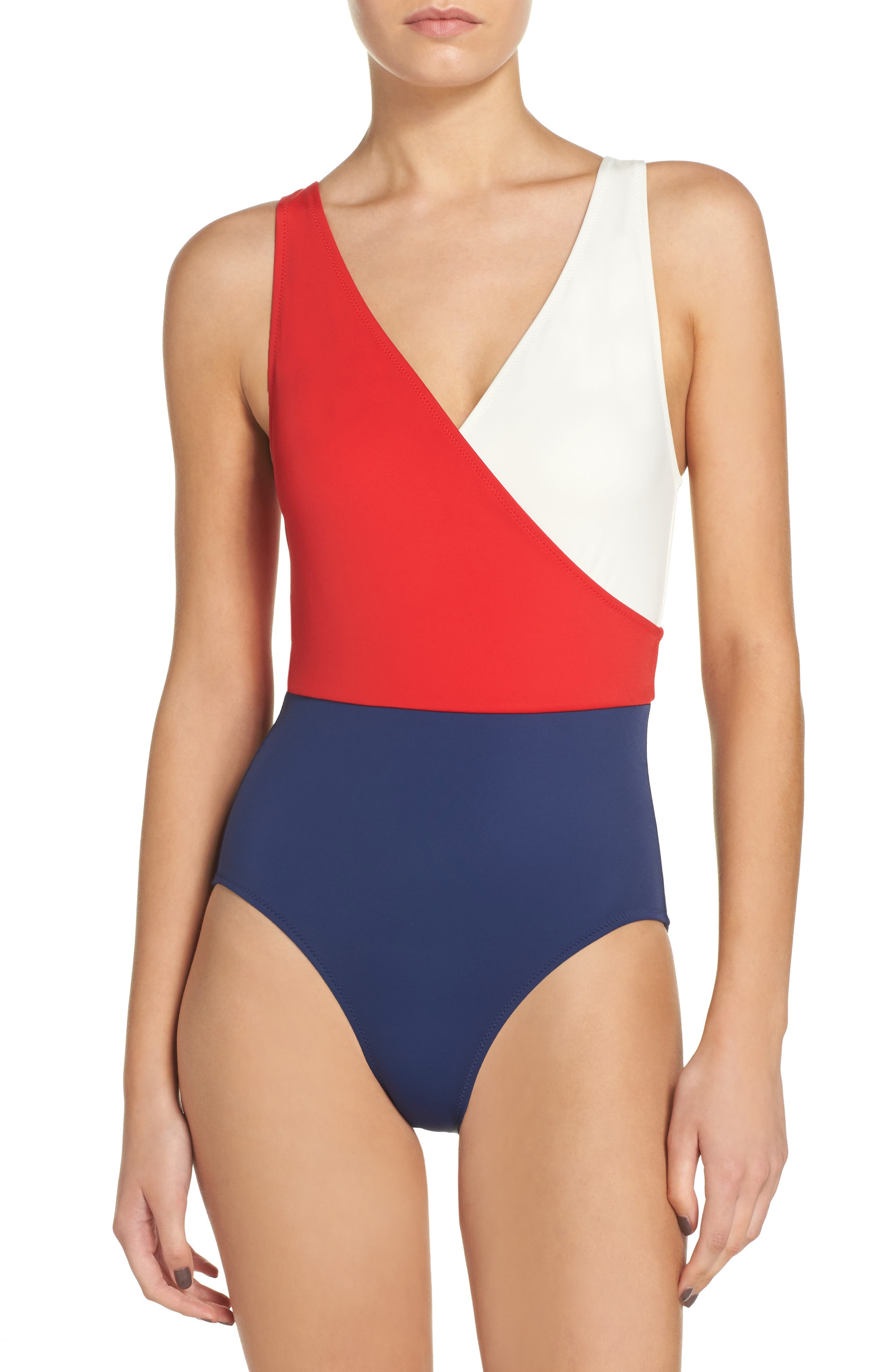 Main Image - Solid & Striped Ballerina One-Piece Swimsuit
