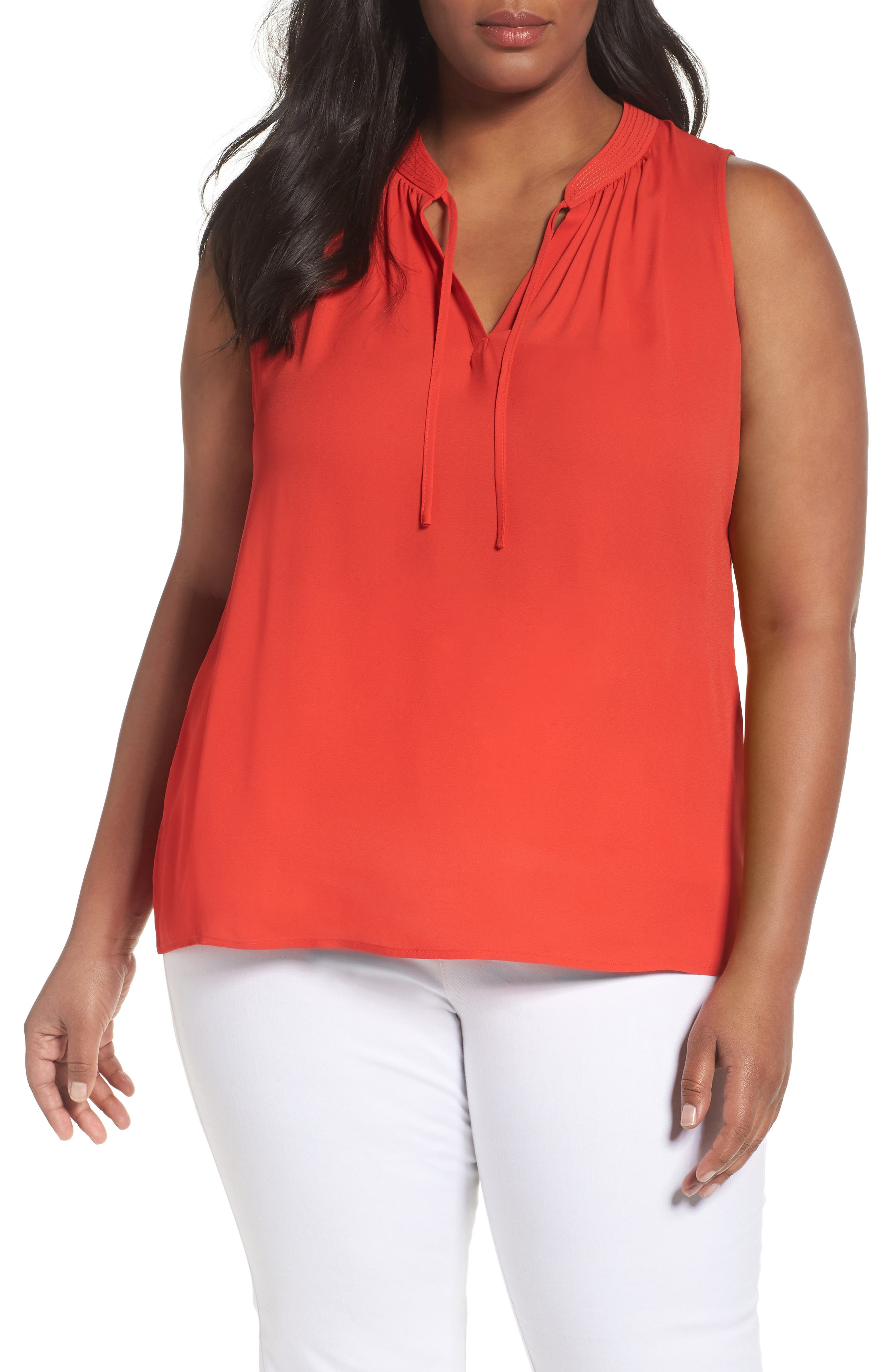 Sejour Tie Neck Shell (Plus Size)