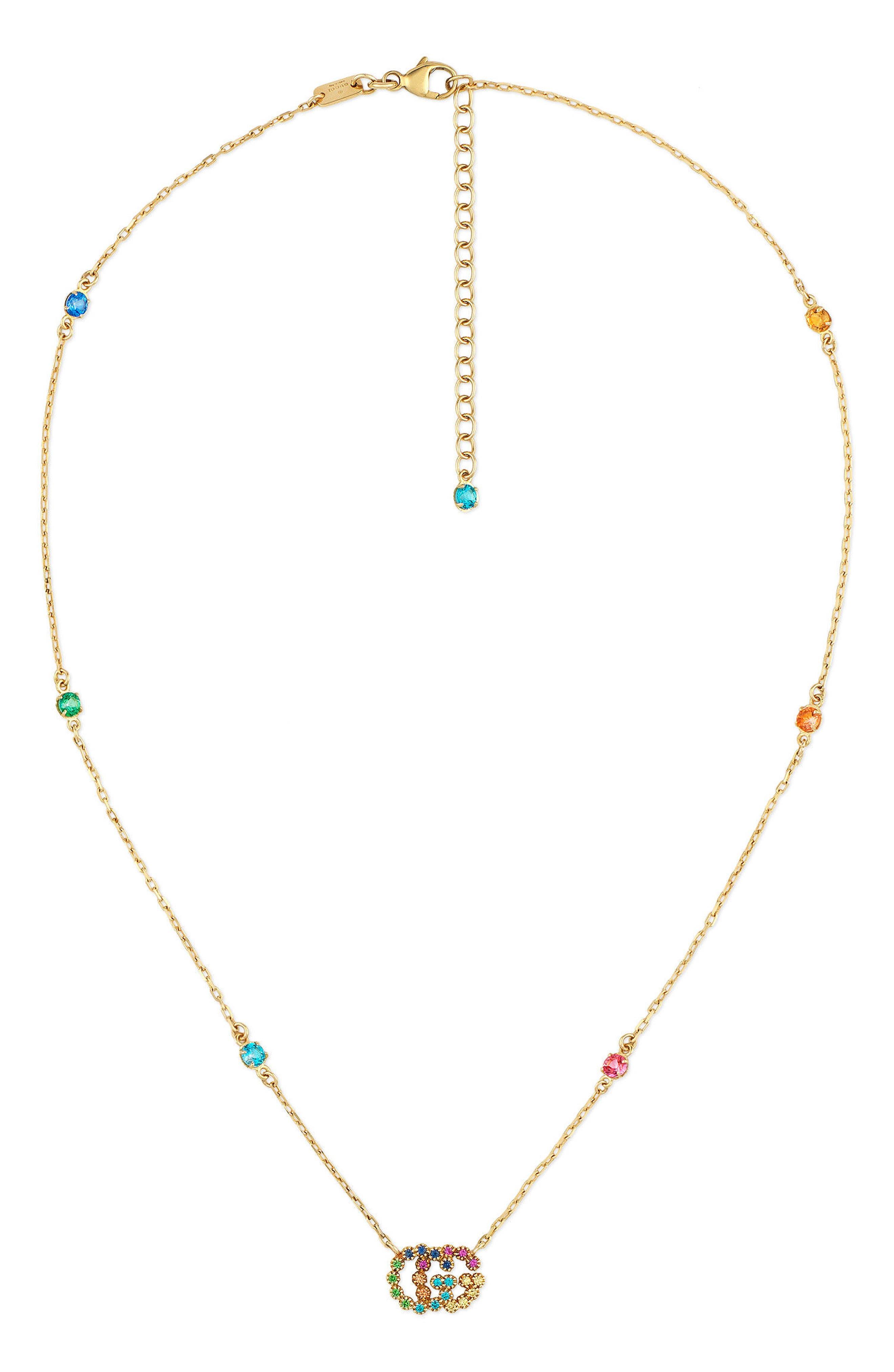 Gucci Running G Semiprecius Stone Pendant Necklace