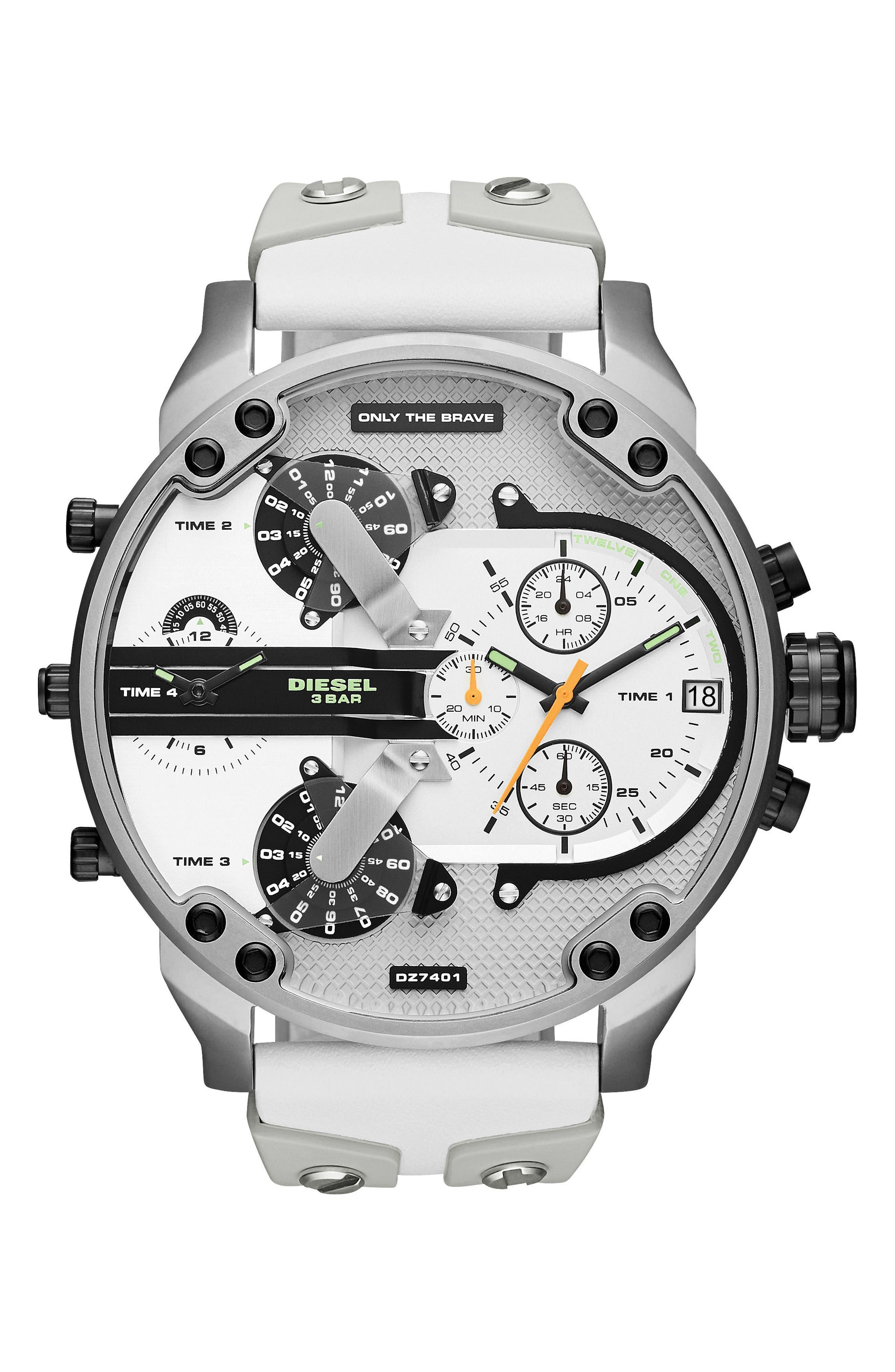 DIESEL® Mr. Daddy Chronograph Rubber Strap Watch, 57mm