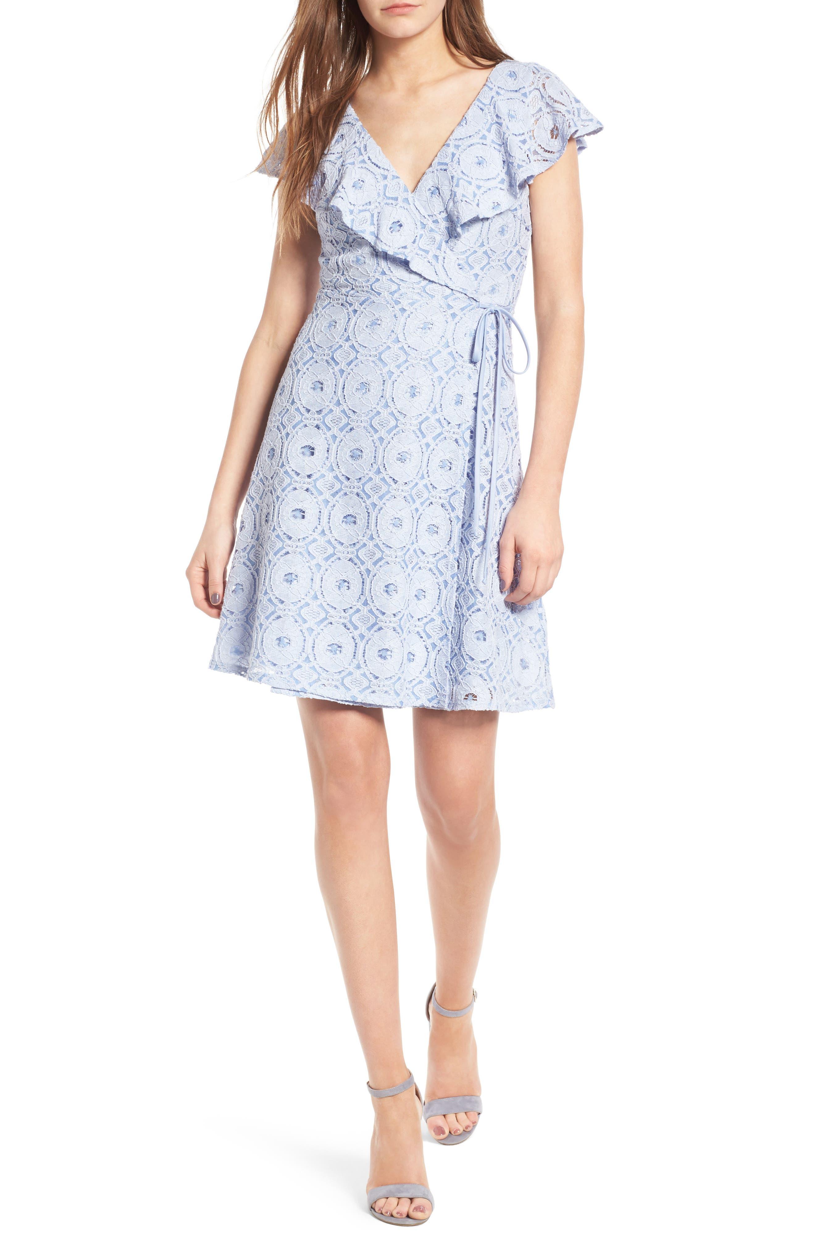 Soprano Ruffle Lace Wrap Dress