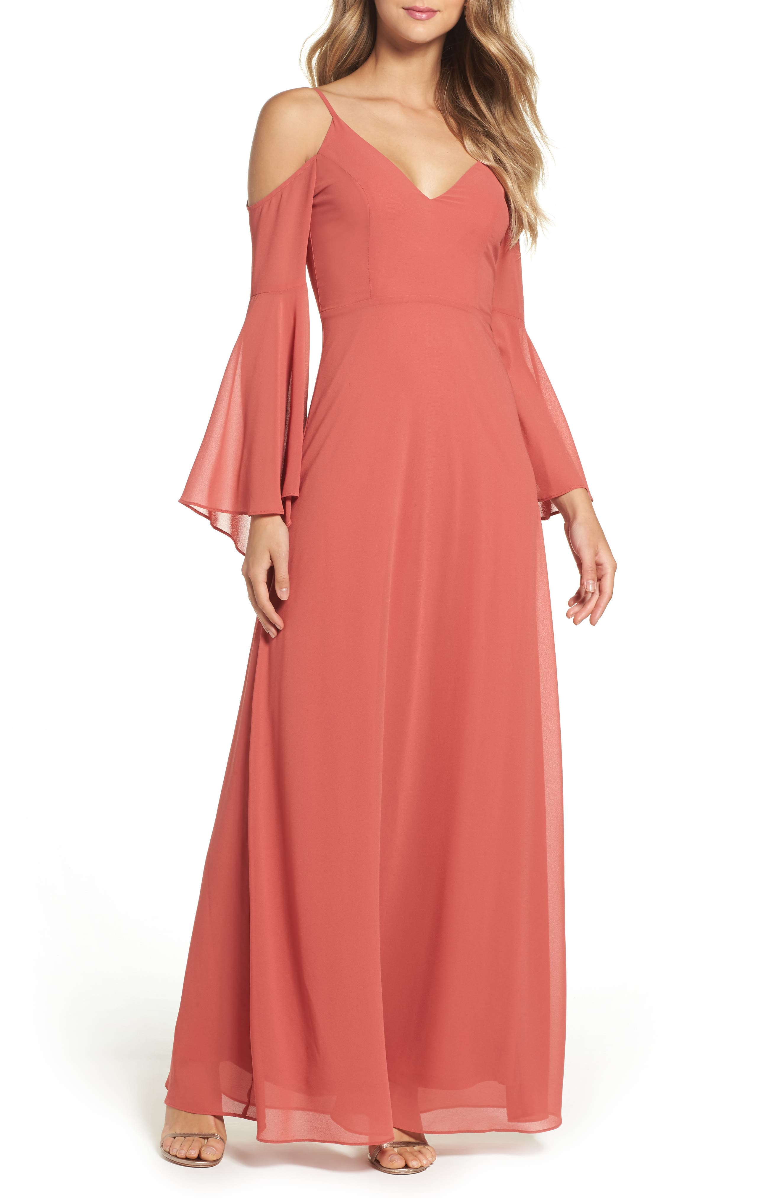 Lulus Cold Shoulder Chiffon Maxi Dress