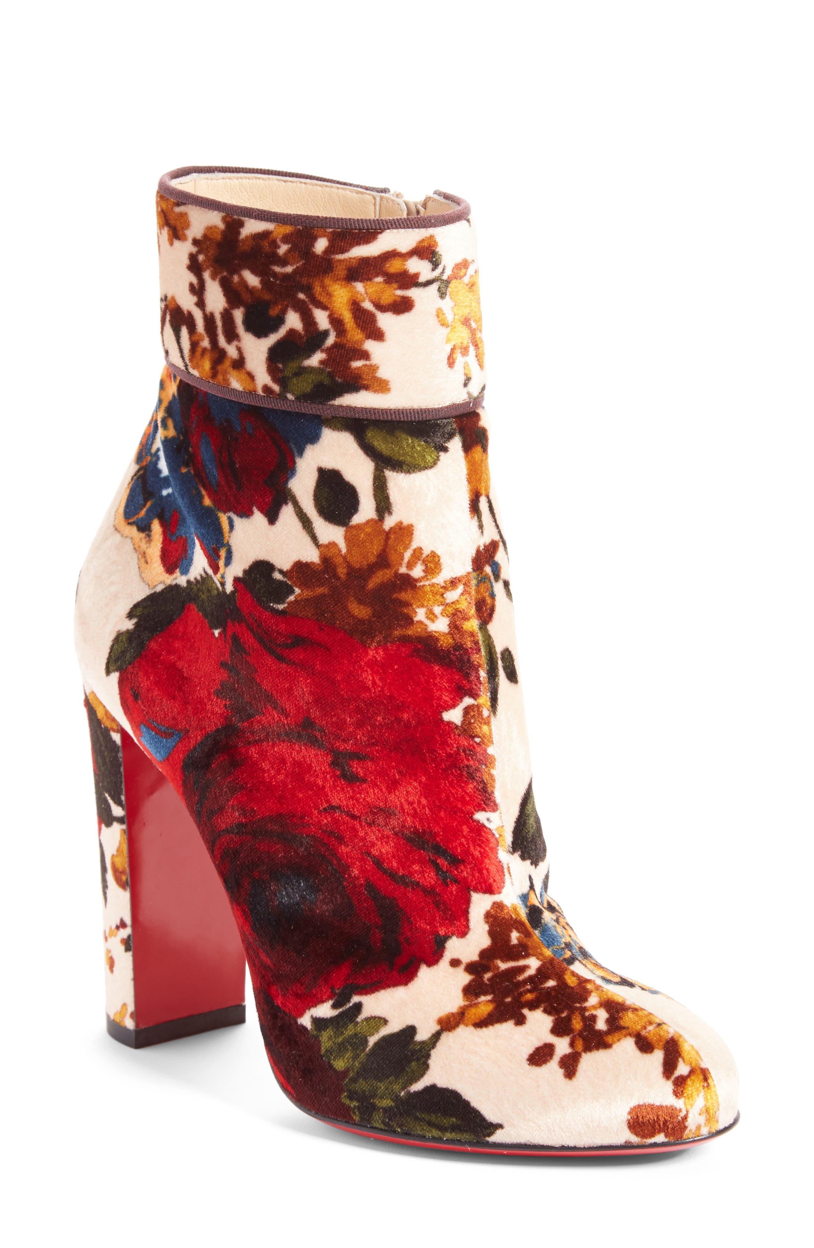 Christian Louboutin Moulamax Floral Velvet Bootie (Women)