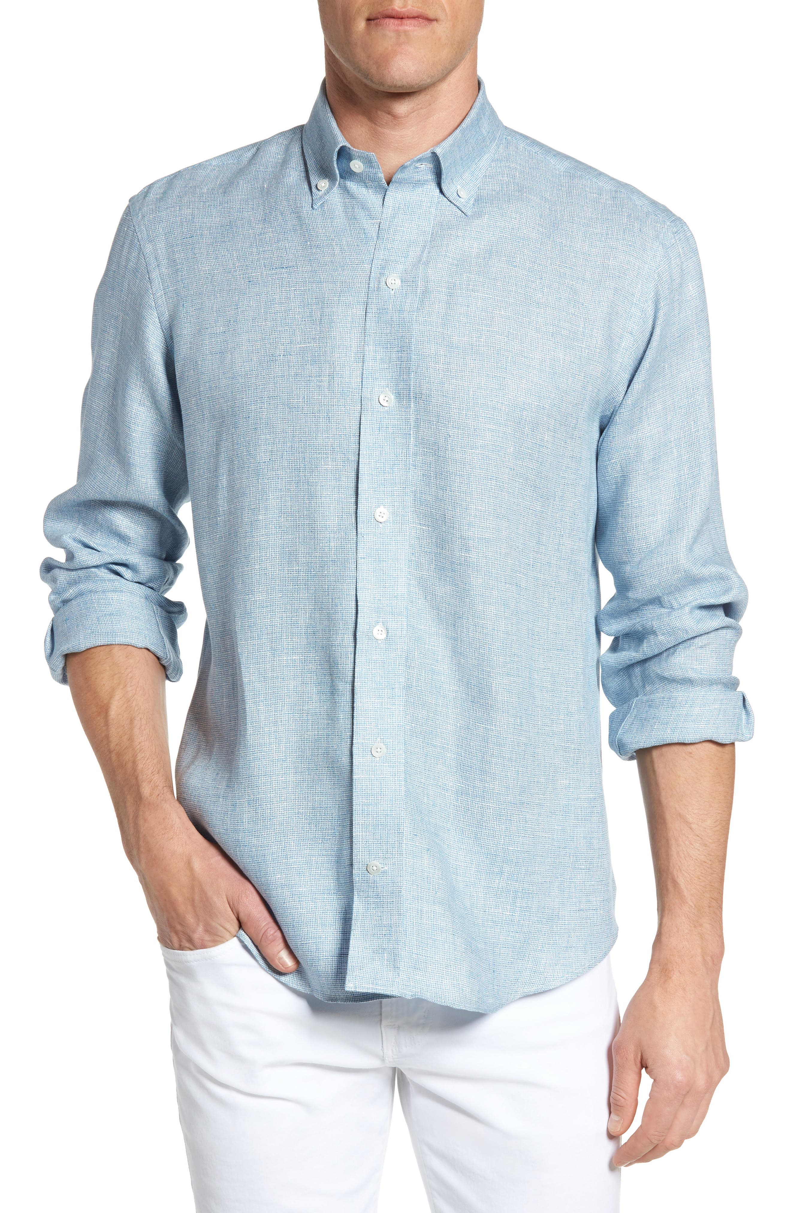 Ledbury The Bohler Trim Fit Linen Sport Shirt