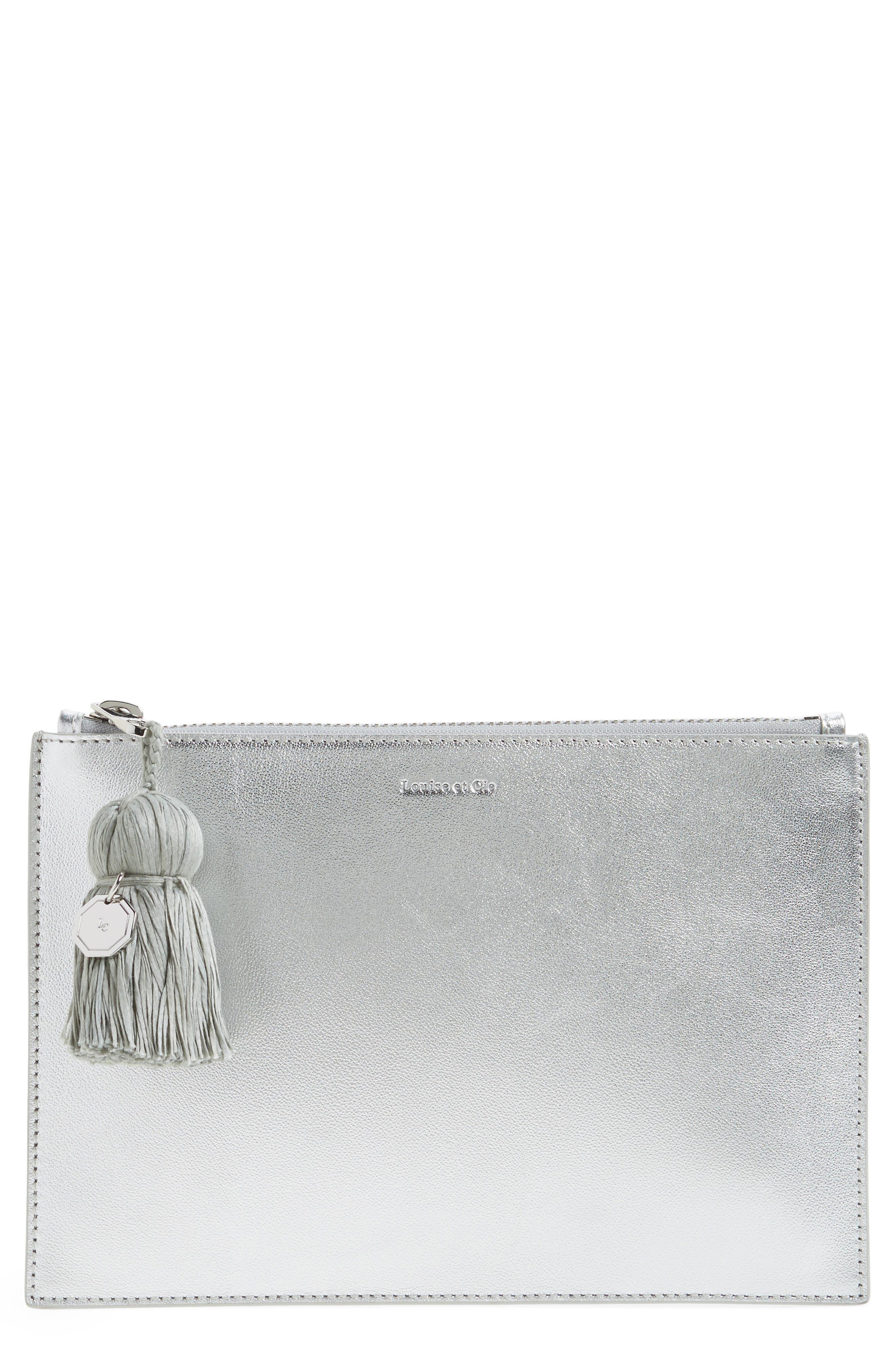 Louise et Cie Melle Metallic Leather Tassel Pouch