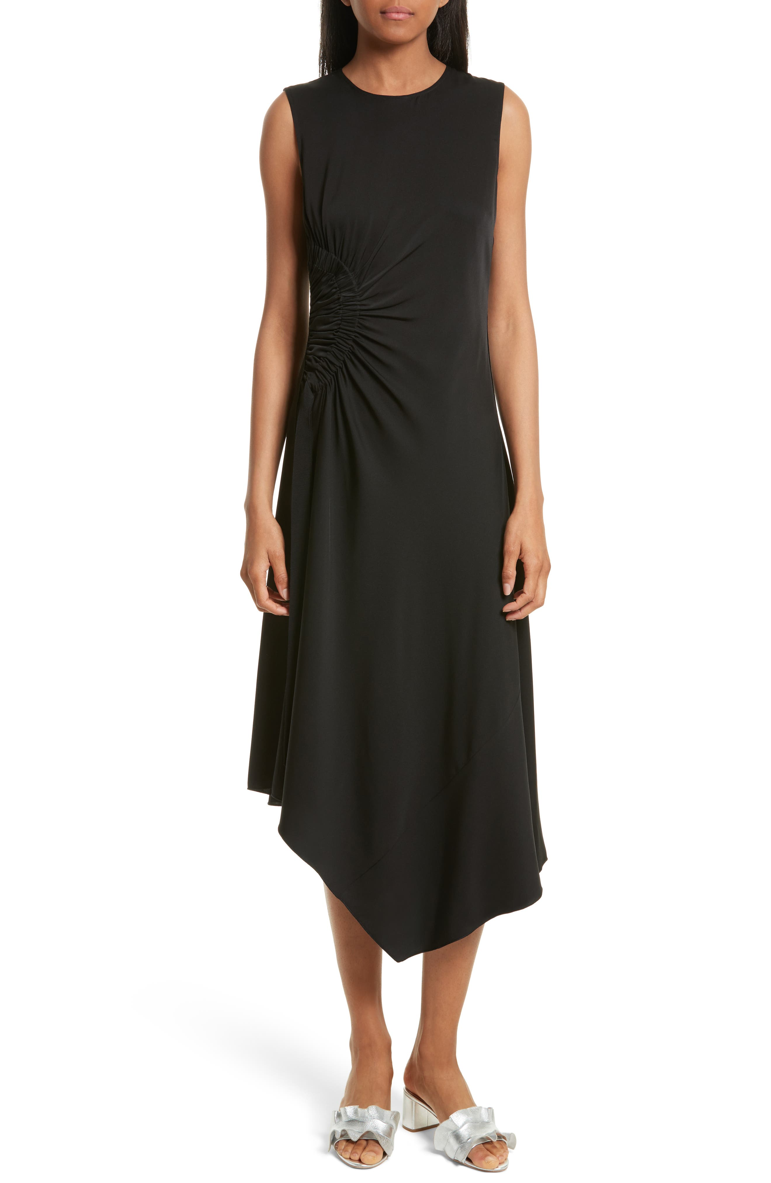 Elizabeth and James Martha Side Ruched Asymmetrical Stretch Silk Dress
