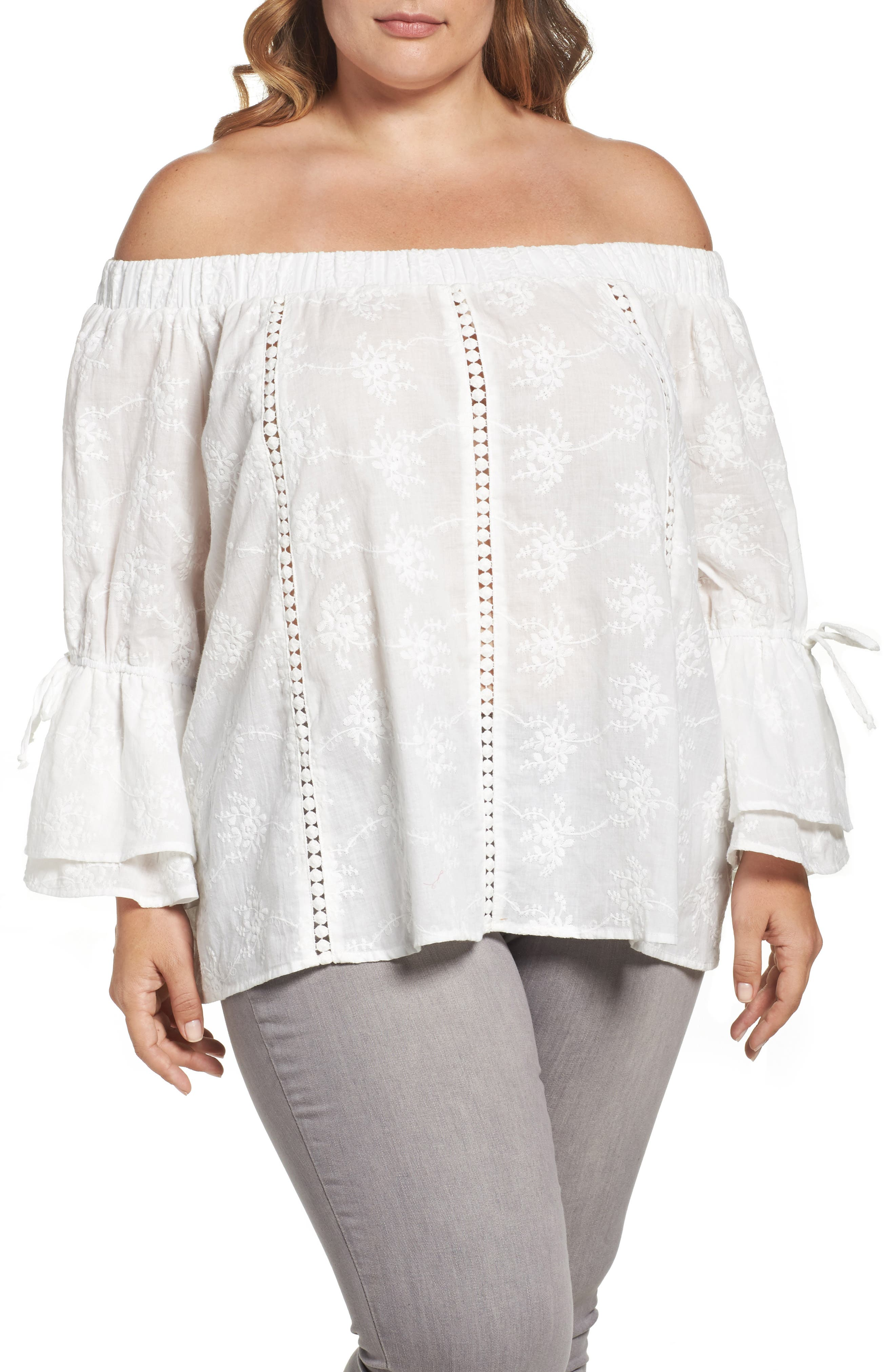 Lumie Embroidered Off the Shoulder Top (Plus Size)
