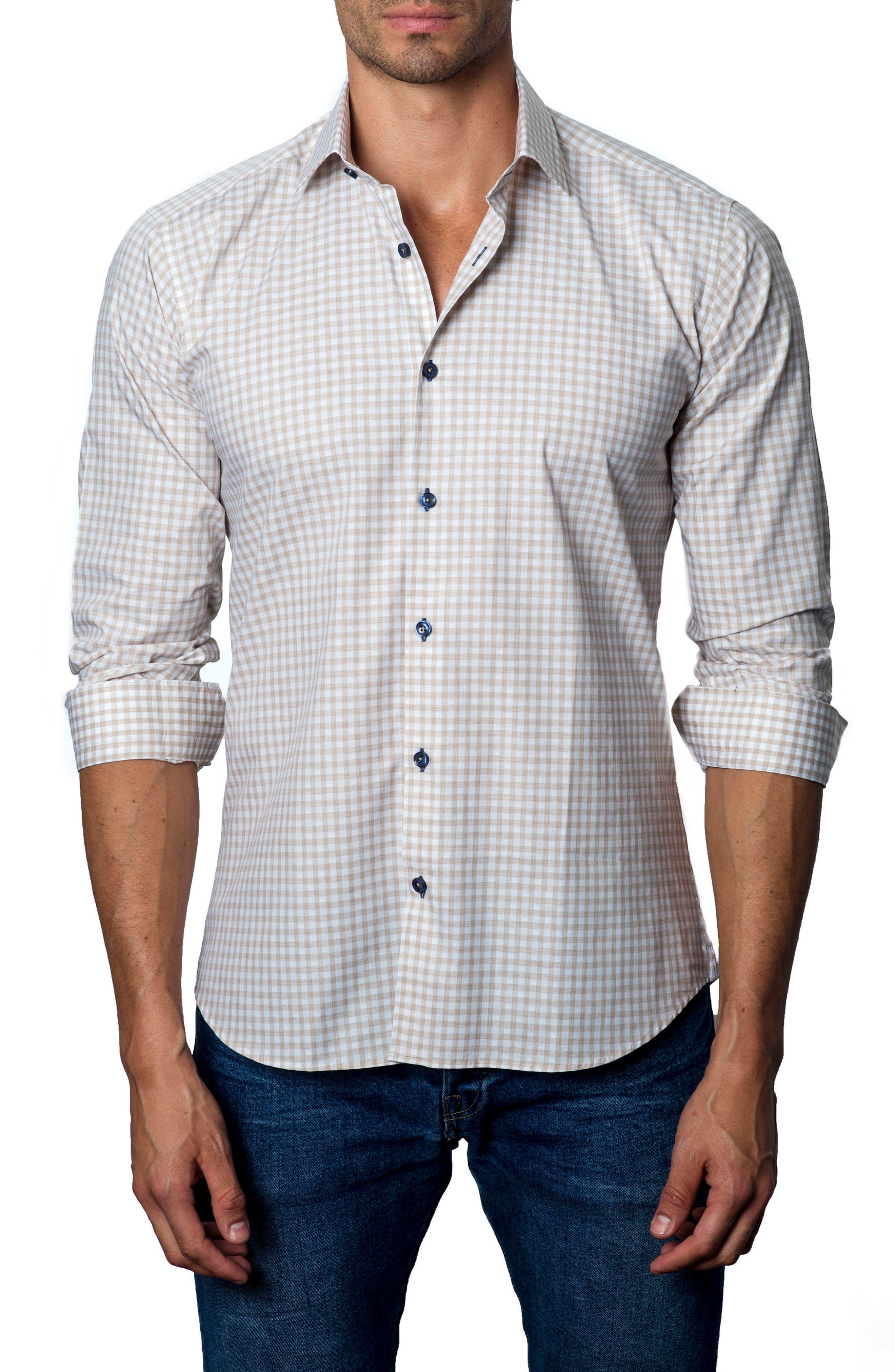 Jared Lang Trim Fit Gingham Sport Shirt