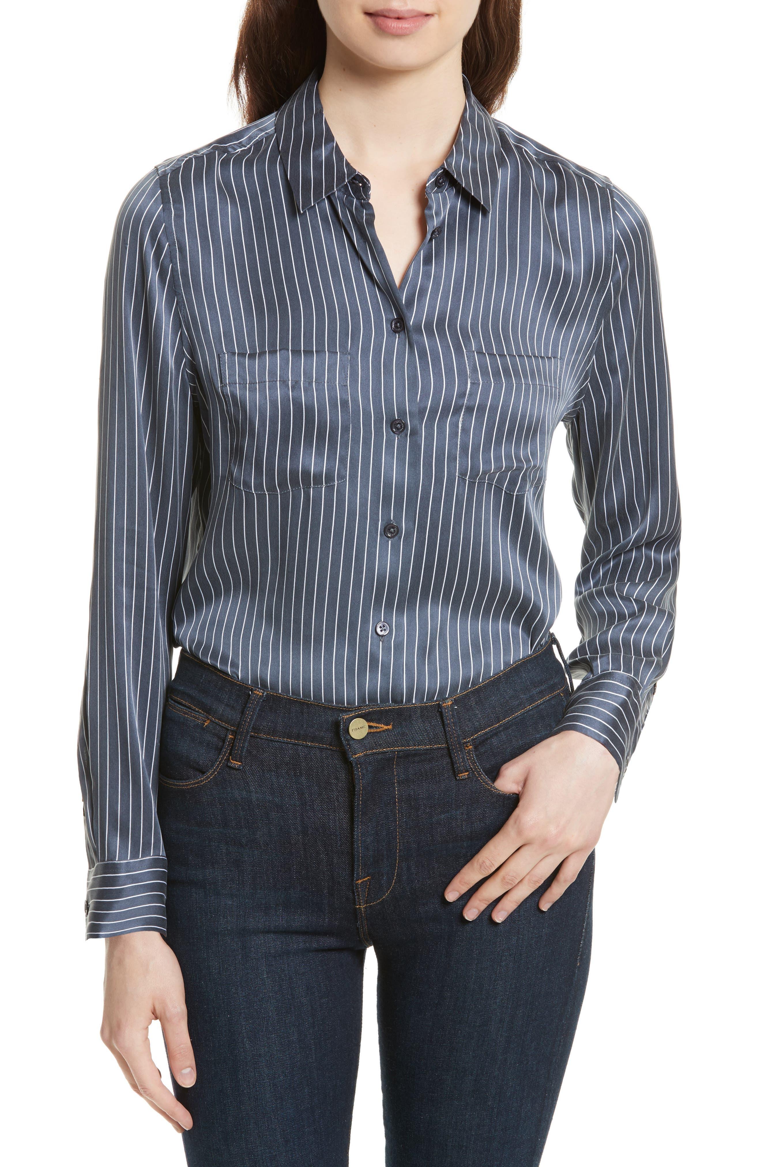 Equipment Essential Stripe Silk Pocket Shirt