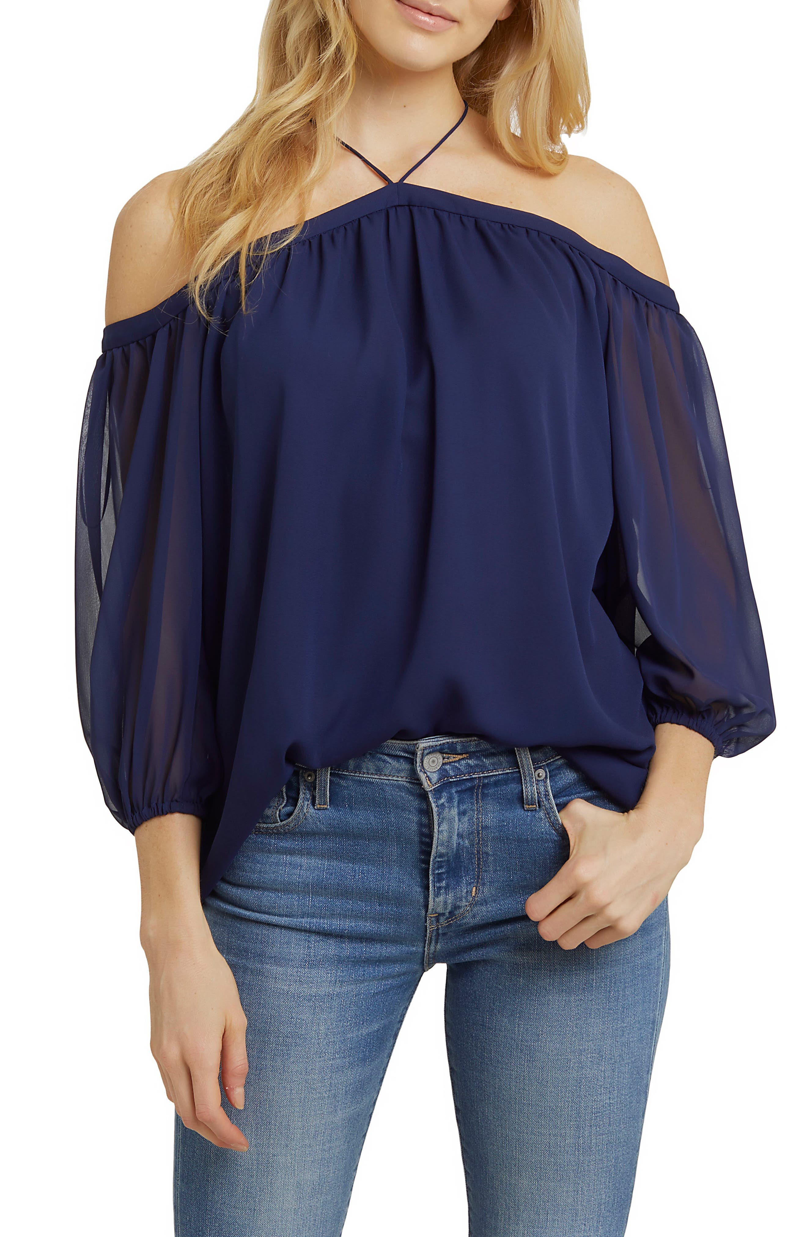 Alternate Image 1 Selected - 1.STATE Off the Shoulder Sheer Chiffon Blouse