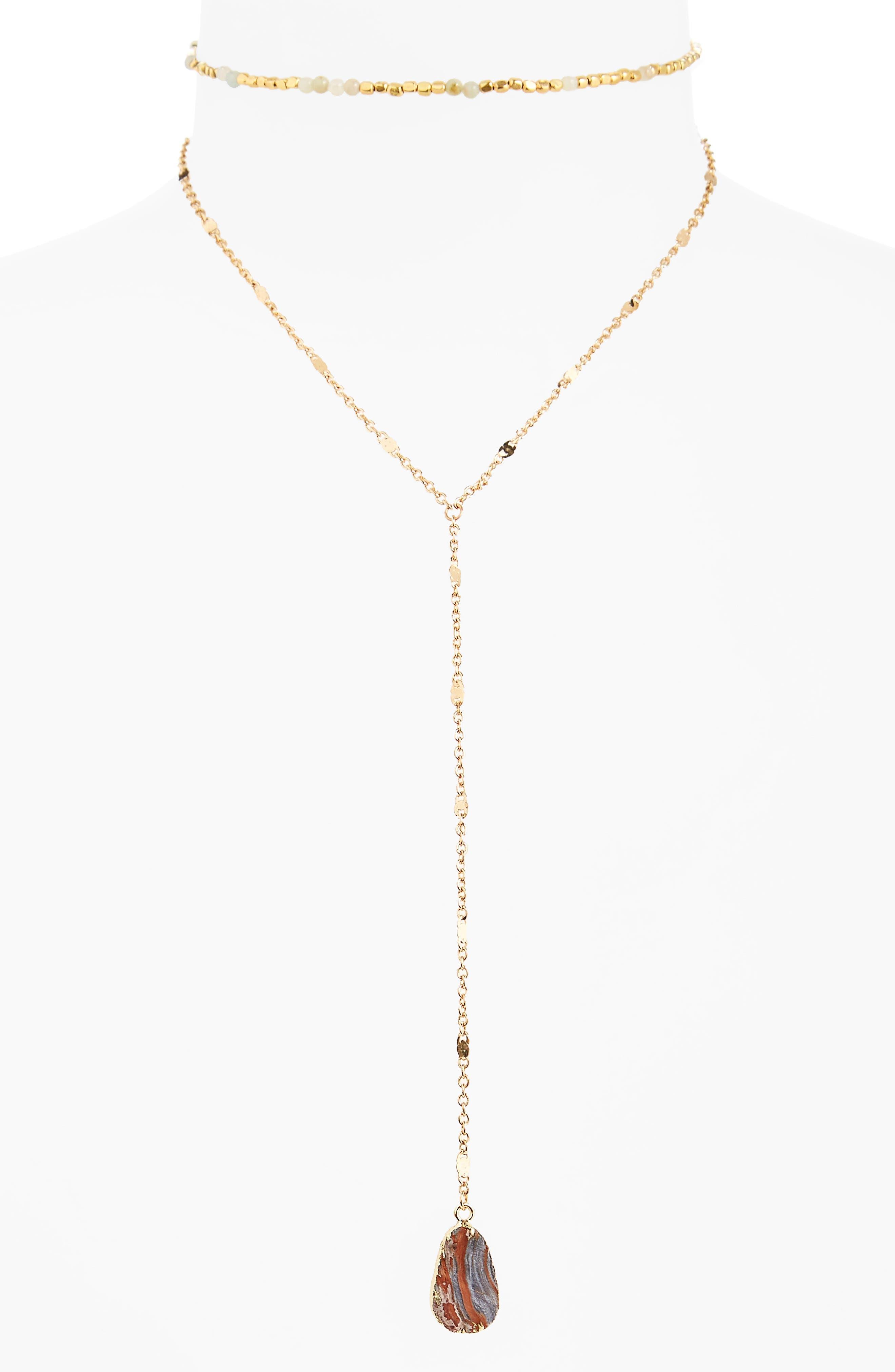 Panacea Sunstone Layered Y-Necklace