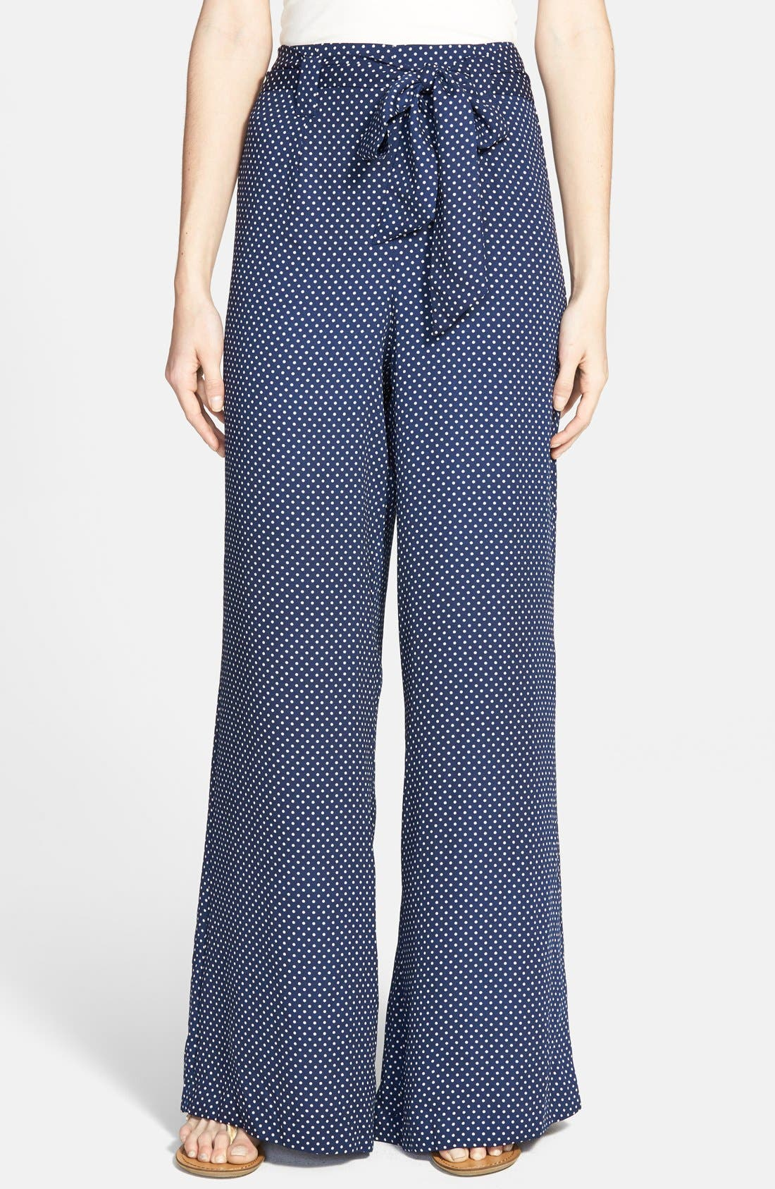 Alternate Image 1 Selected - Socialite Print Tie Front Palazzo Pants (Juniors)