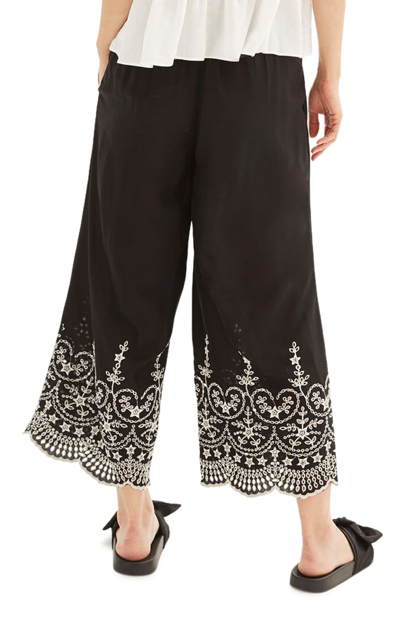 Alternate Image 3  - Topshop Embroidered Leg Trousers