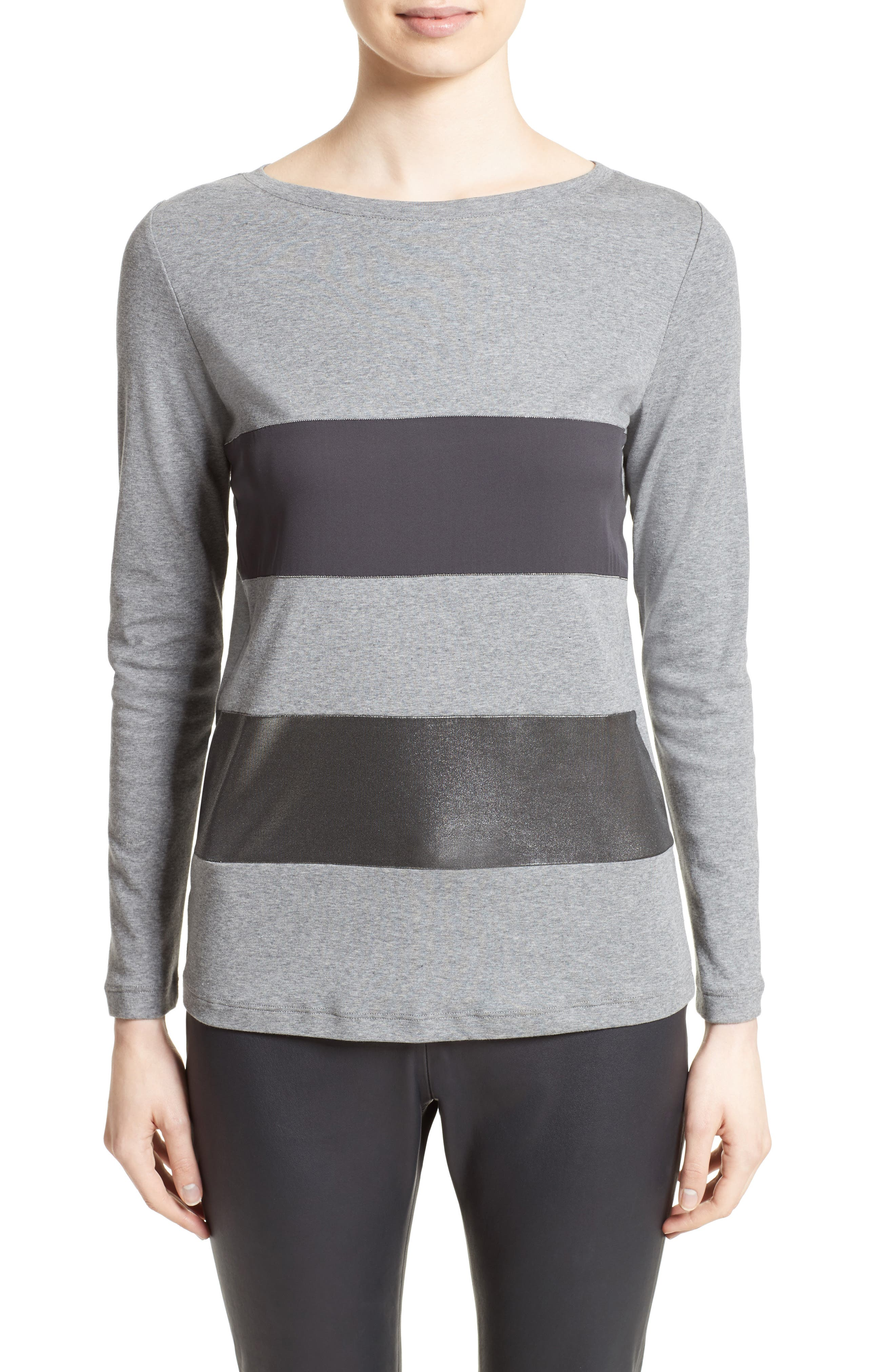 Fabiana Filippi Contrast Panel Stretch Cotton Jersey Top