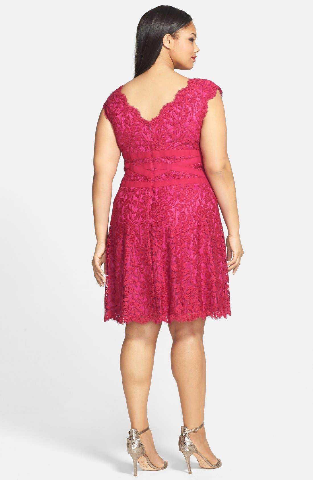 Alternate Image 2  - Tadashi Shoji Embroidered Lace Fit & Flare Dress (Plus Size)
