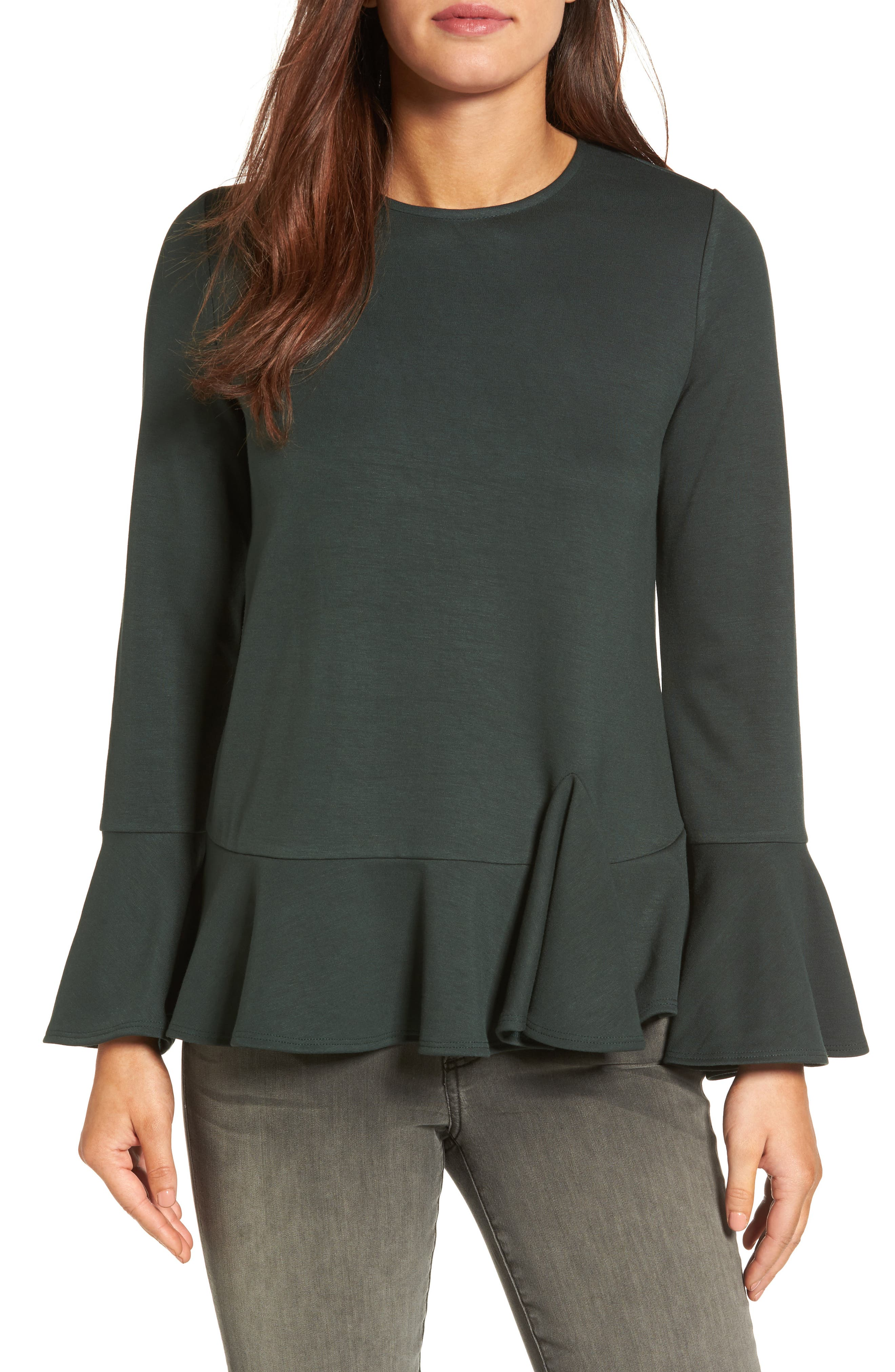Gibson Ruffle Hem Bell Sleeve Top (Regular & Petite)