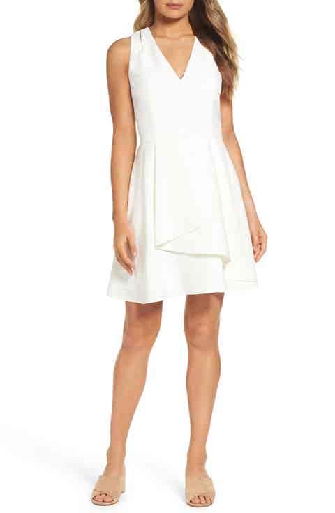 Adelyn Rae Asymmetrical Crepe Fit   Flare Dress