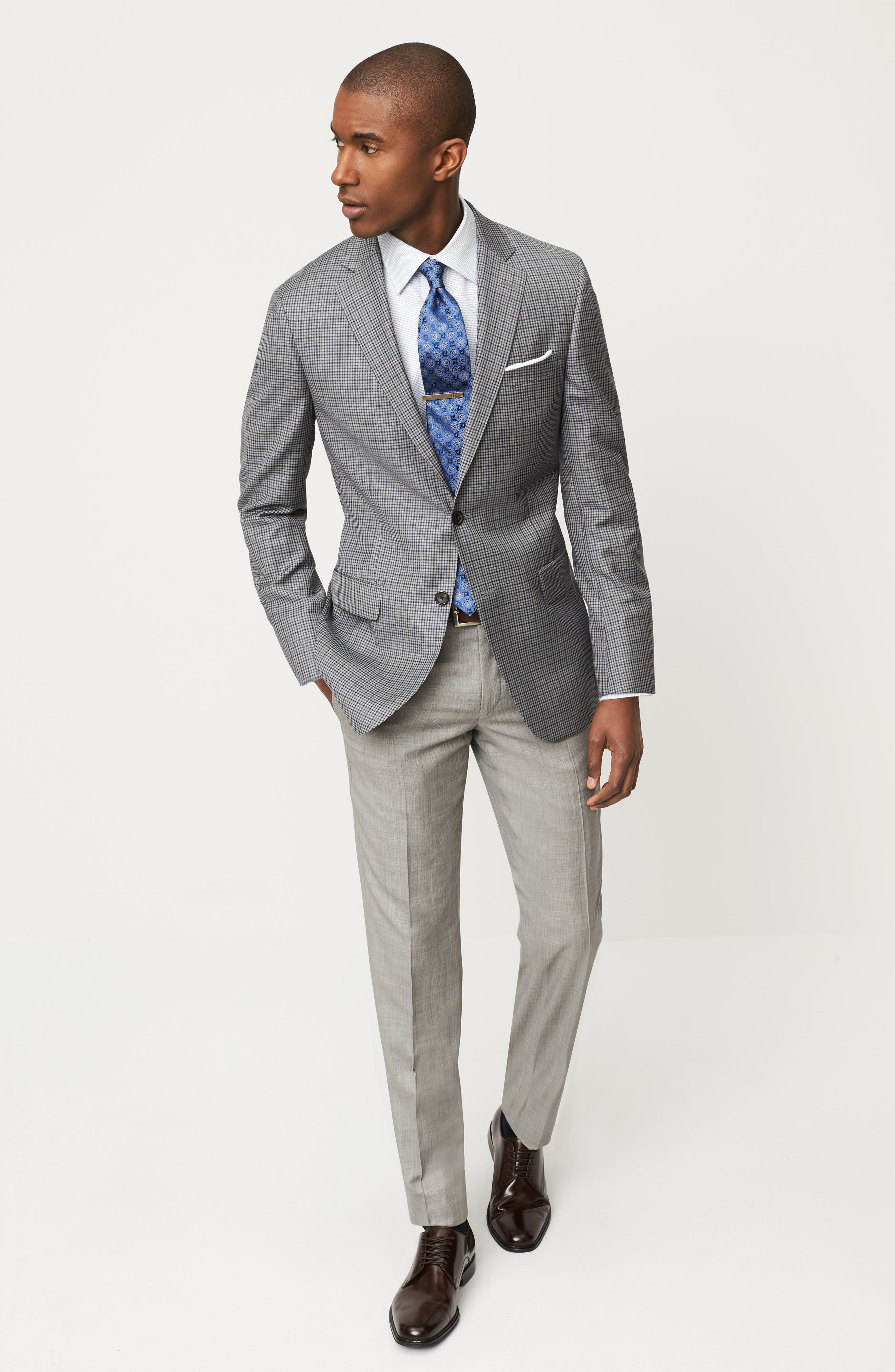 Hart Schaffner Marx Sport Coat, David Donahue Dress Shirt & Ted Baker London Trousers Outfit with Accessories