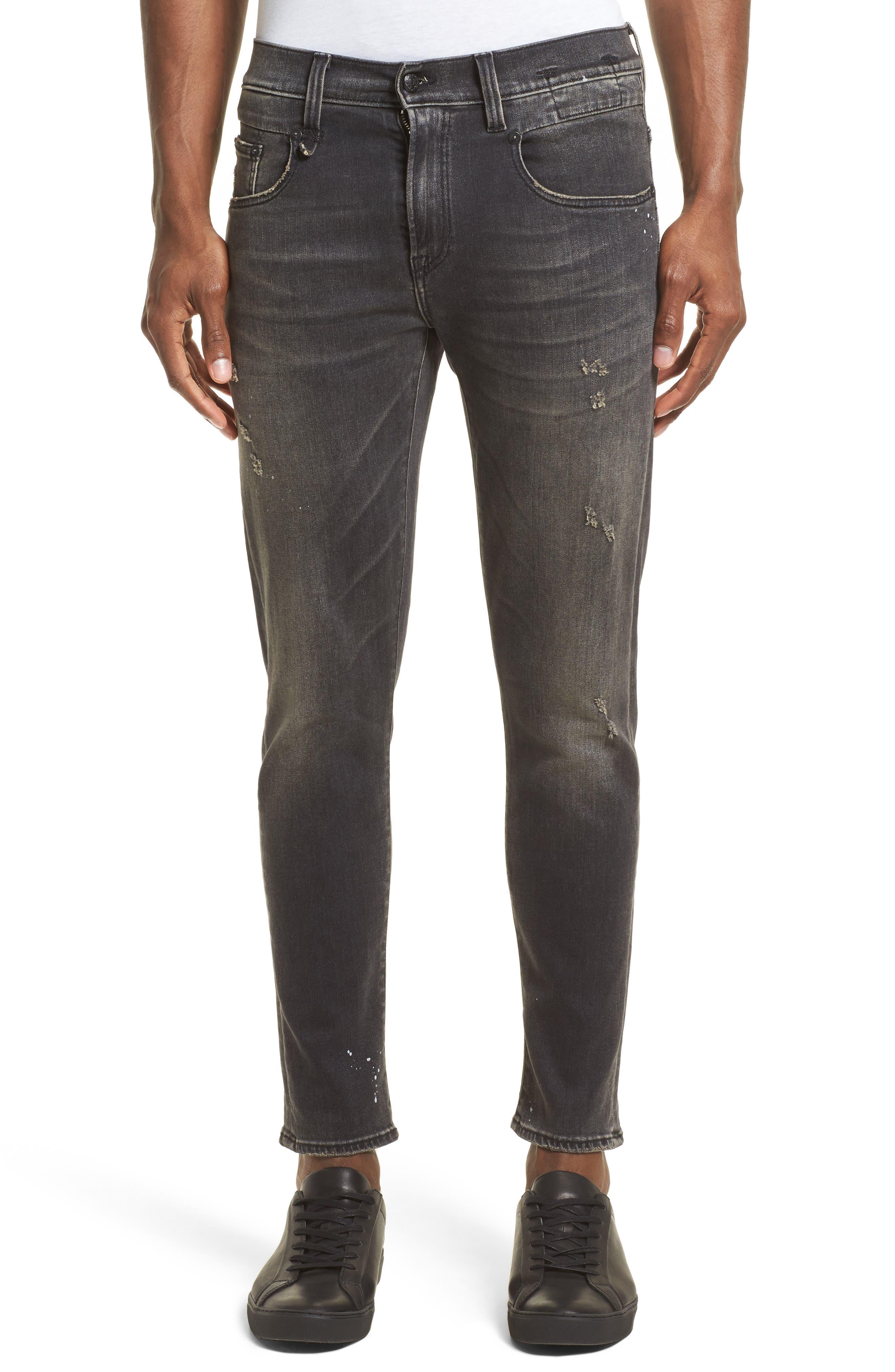 R13 Boy Paint Splattered Jeans (Black)