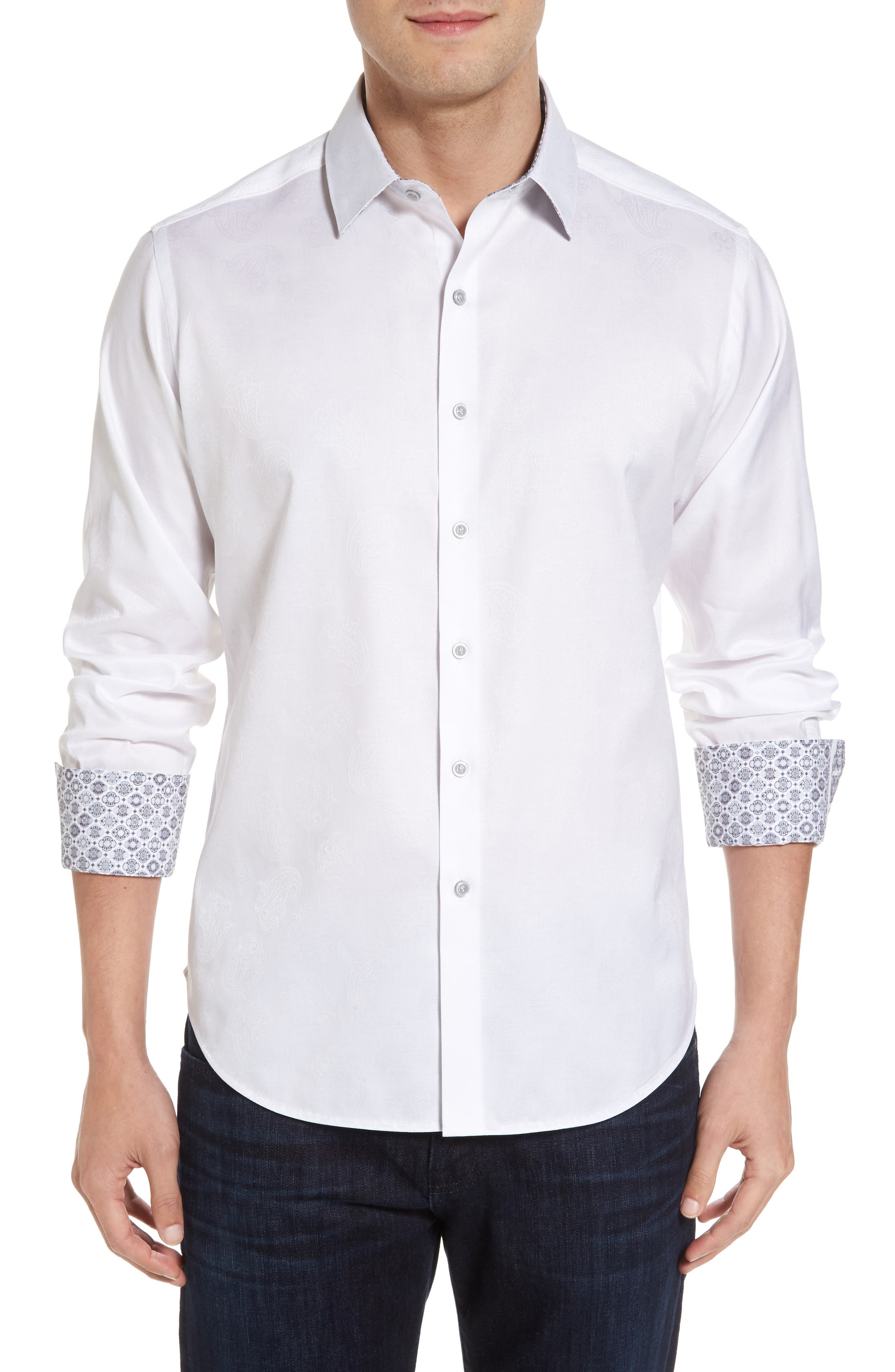Robert Stack Haystack Regular Fit Jacquard Sport Shirt (Tall)