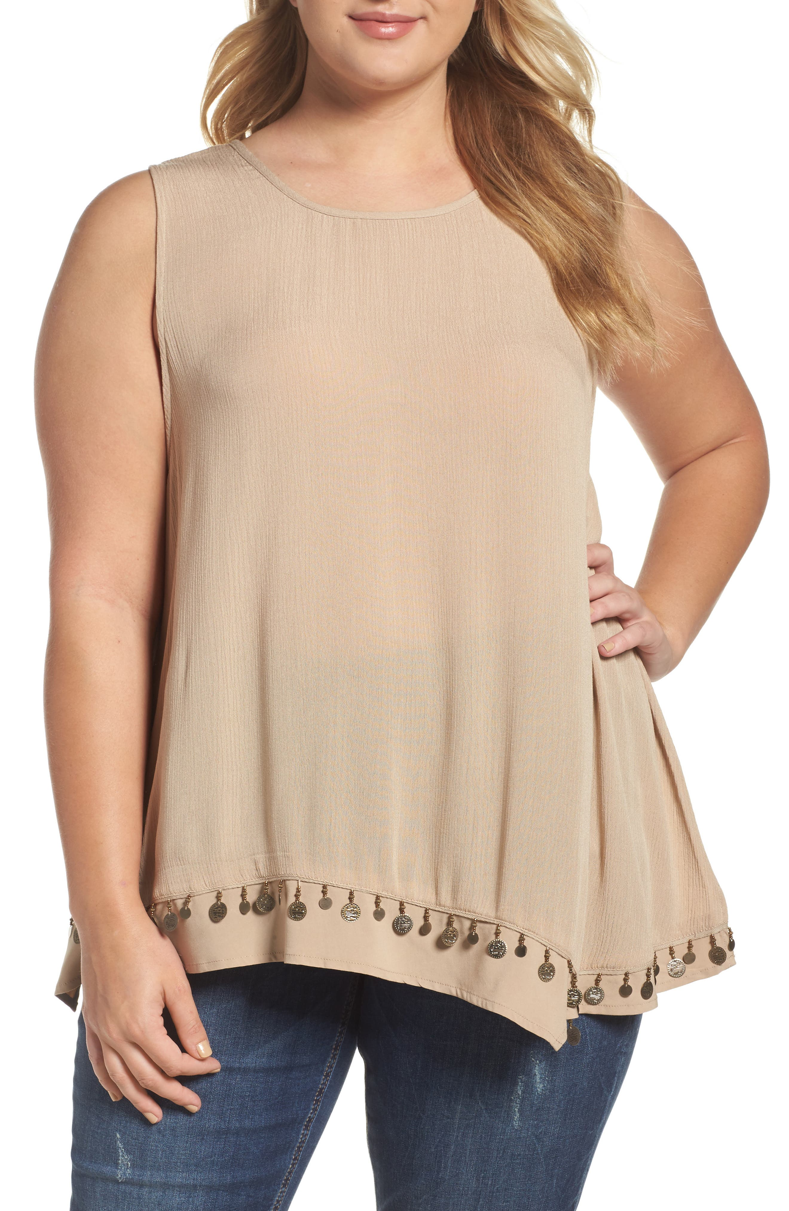 Democracy Coin Trim Asymmetrical Tank (Plus Size)