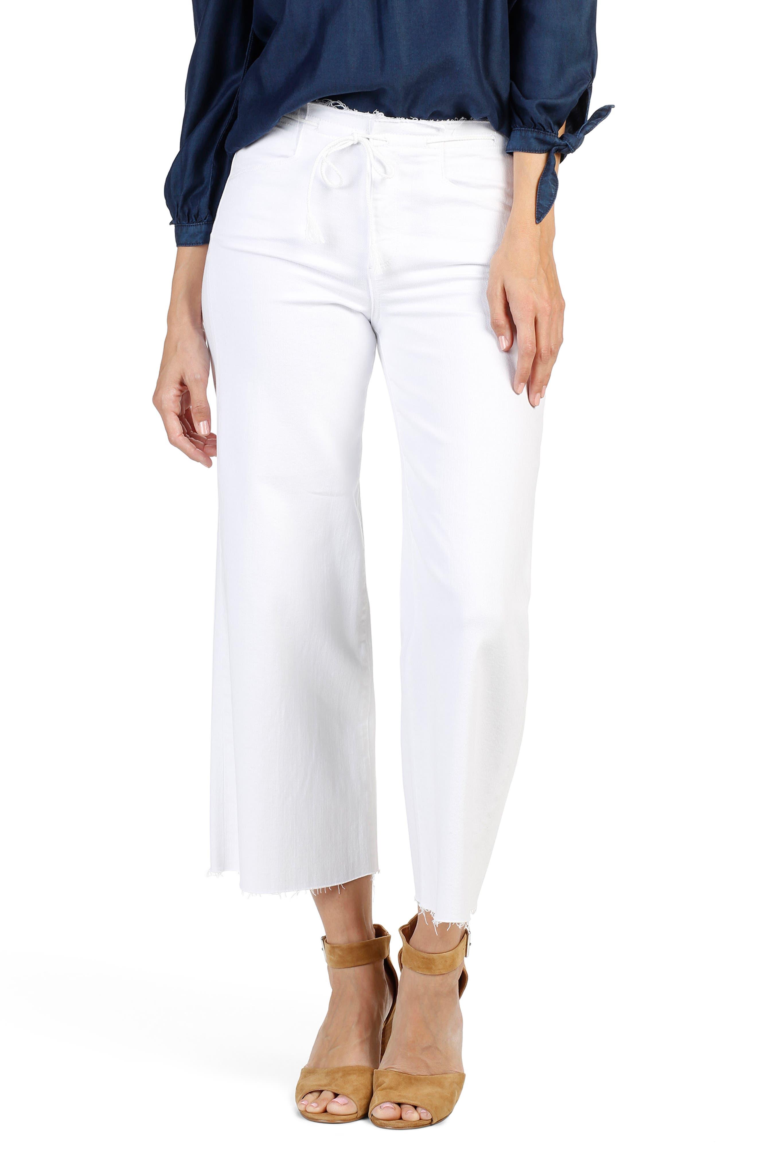 PAIGE Lori Raw Waist Crop Wide Leg Jeans (Optic White)
