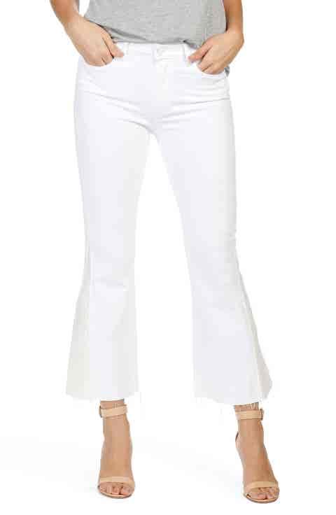 PAIGE Colette Pieced High Waist Raw Hem Crop Flare Jeans (Optic White)