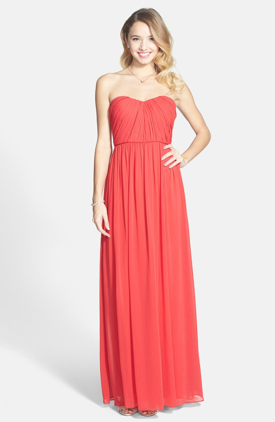 Alternate Image 1 Selected - a. drea 'Stella' Strapless Chiffon Gown (Juniors)