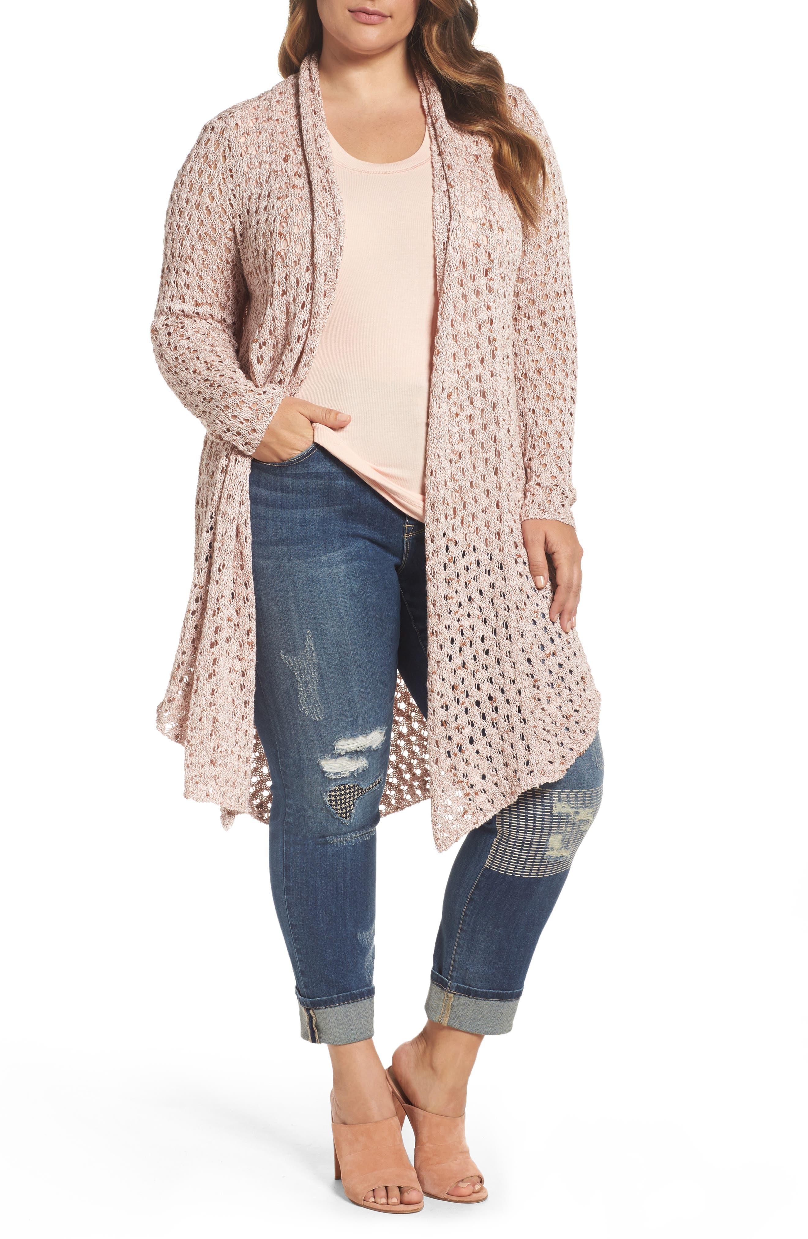 Melissa McCarthy Seven7 Pointelle Knit Open Front Topper (Plus Size)