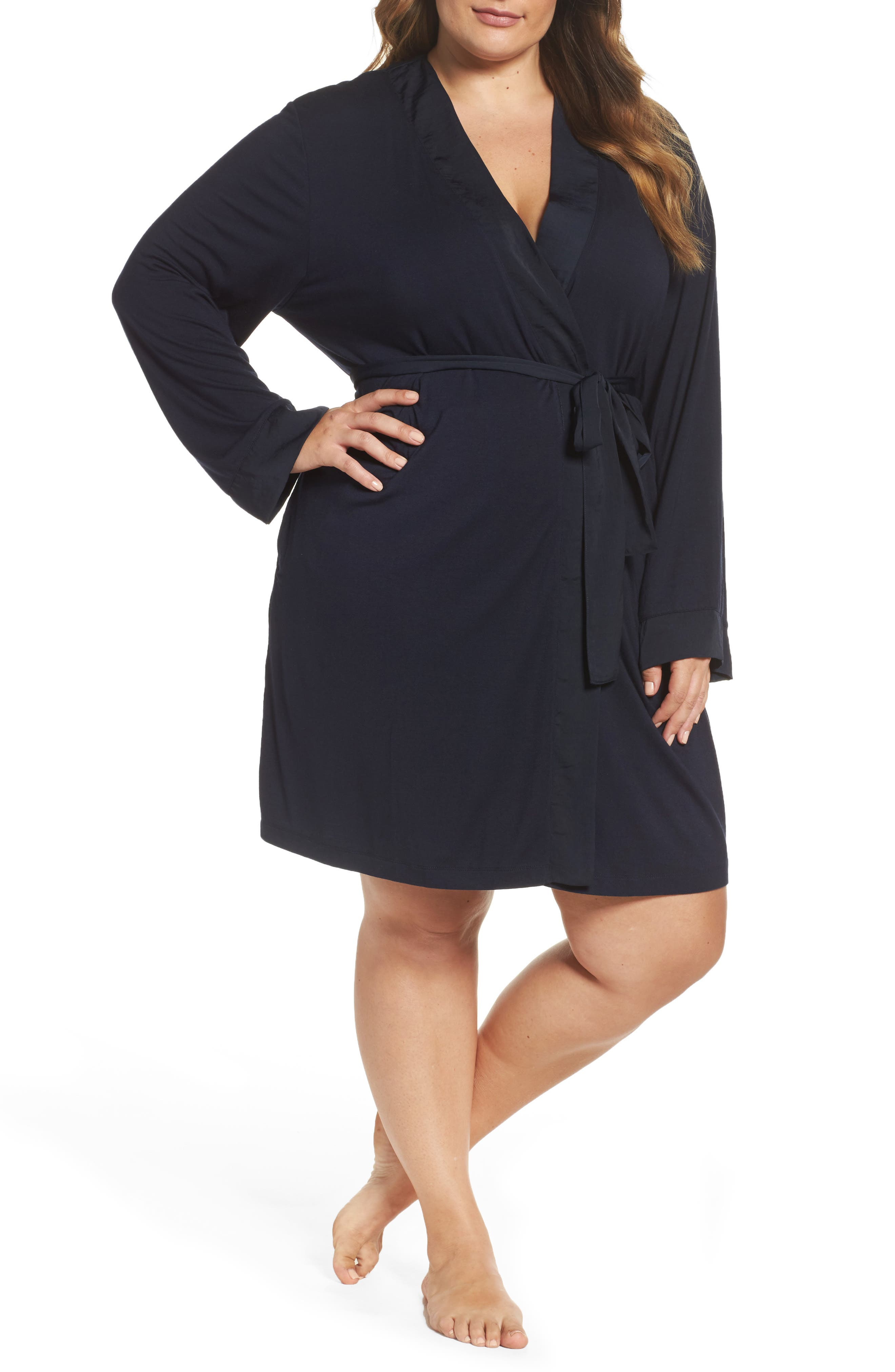 Midnight by Carole Hochman Short Robe (Plus Size)