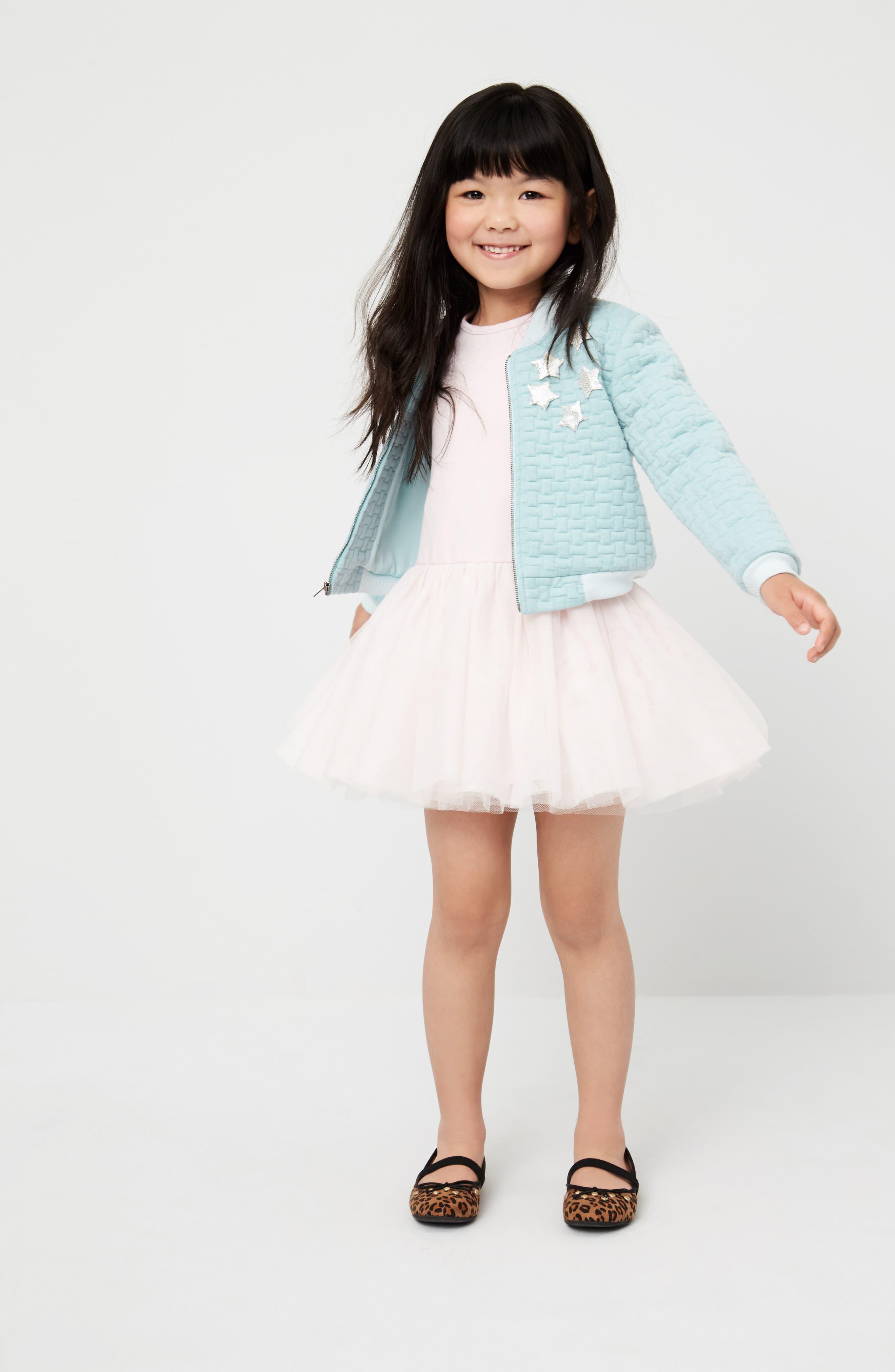 Alternate Image 2  - Pippa & Julie Bomber Jacket & Tulle Dress Set (Toddler Girls & Little Girls)