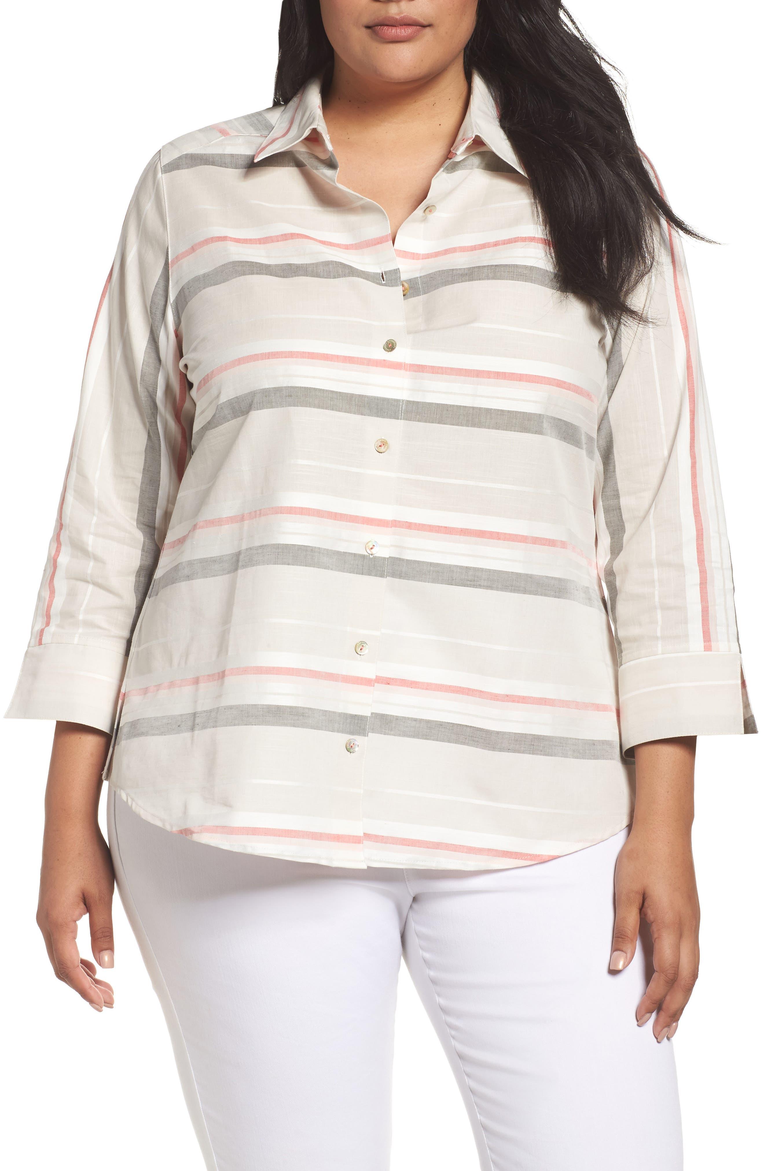 Foxcroft Fia Stripe Cotton & Linen Shirt (Plus Size)