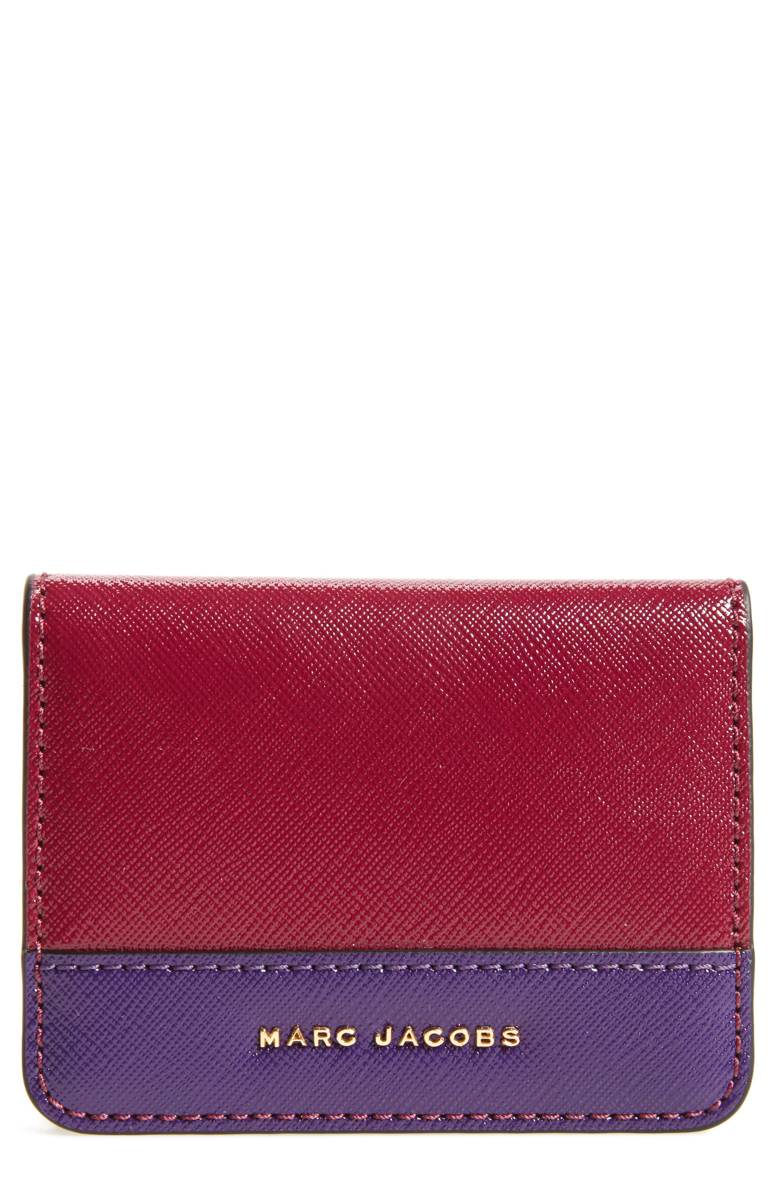MARC JACOBS Color Block Saffiano Leather Business Card Case