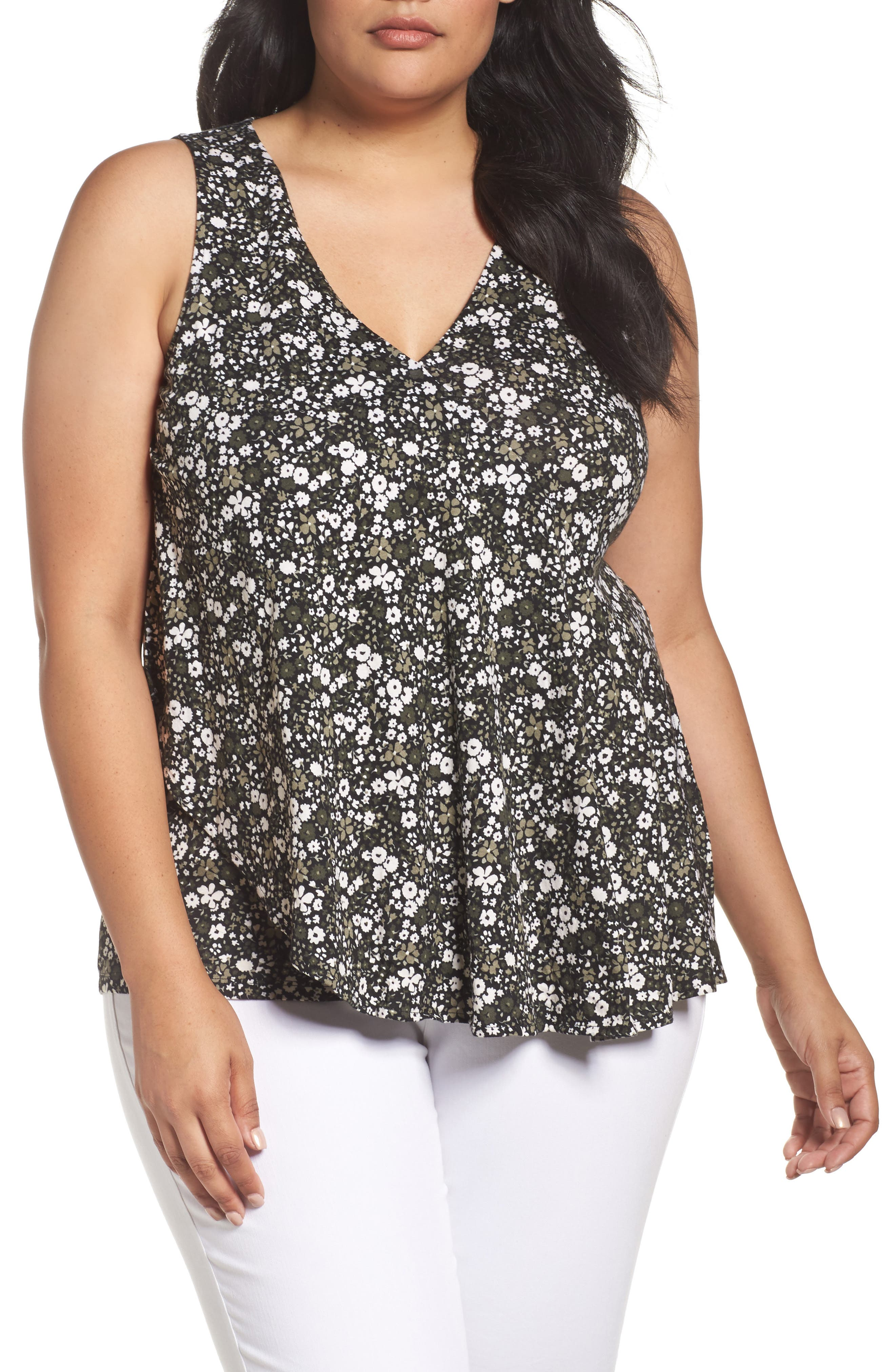 MICHAEL Michael Kors Brooks Wrap Flounce Tank (Plus Size)