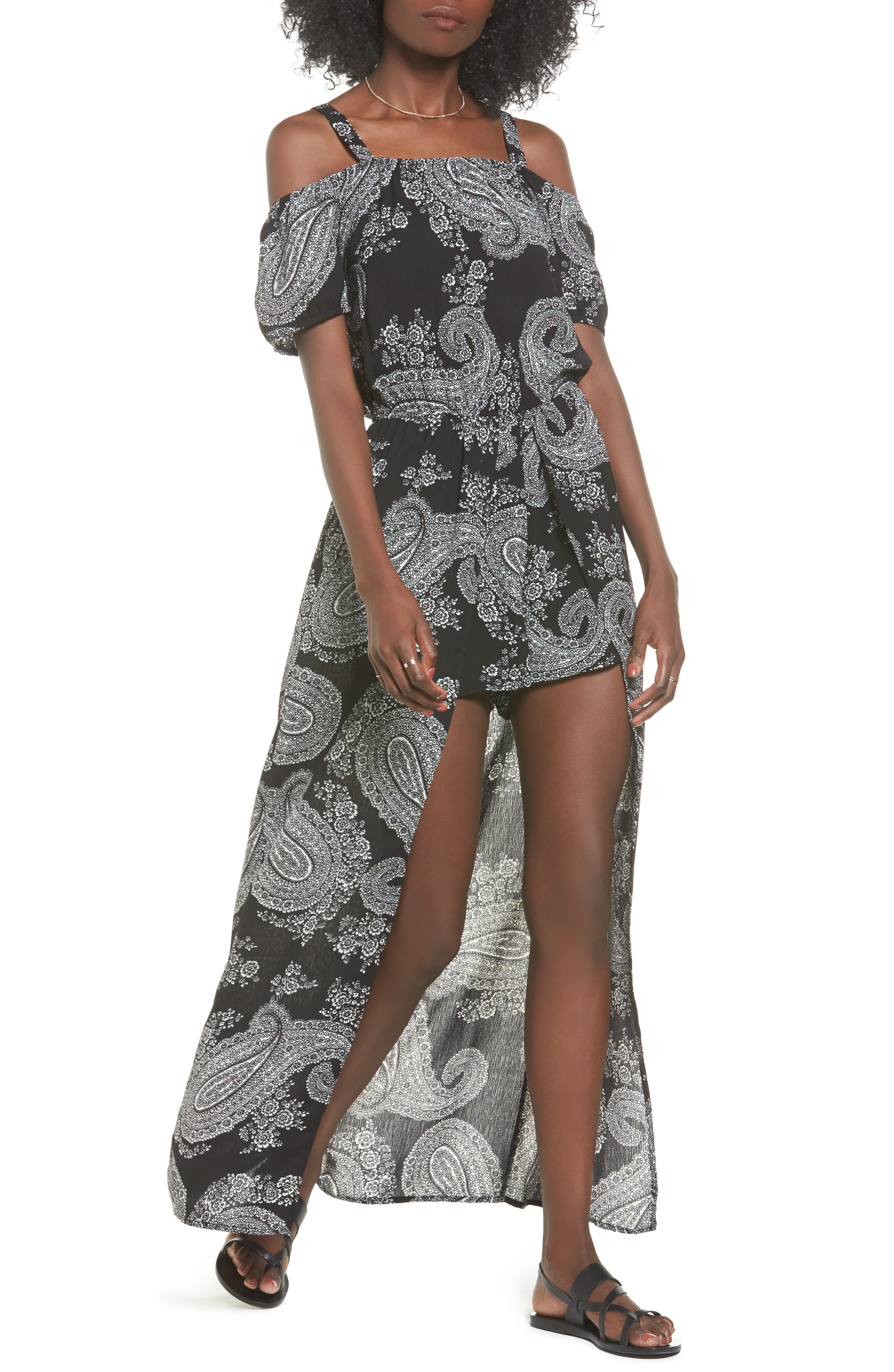Sun & Shadow Off the Shoulder Maxi Romper