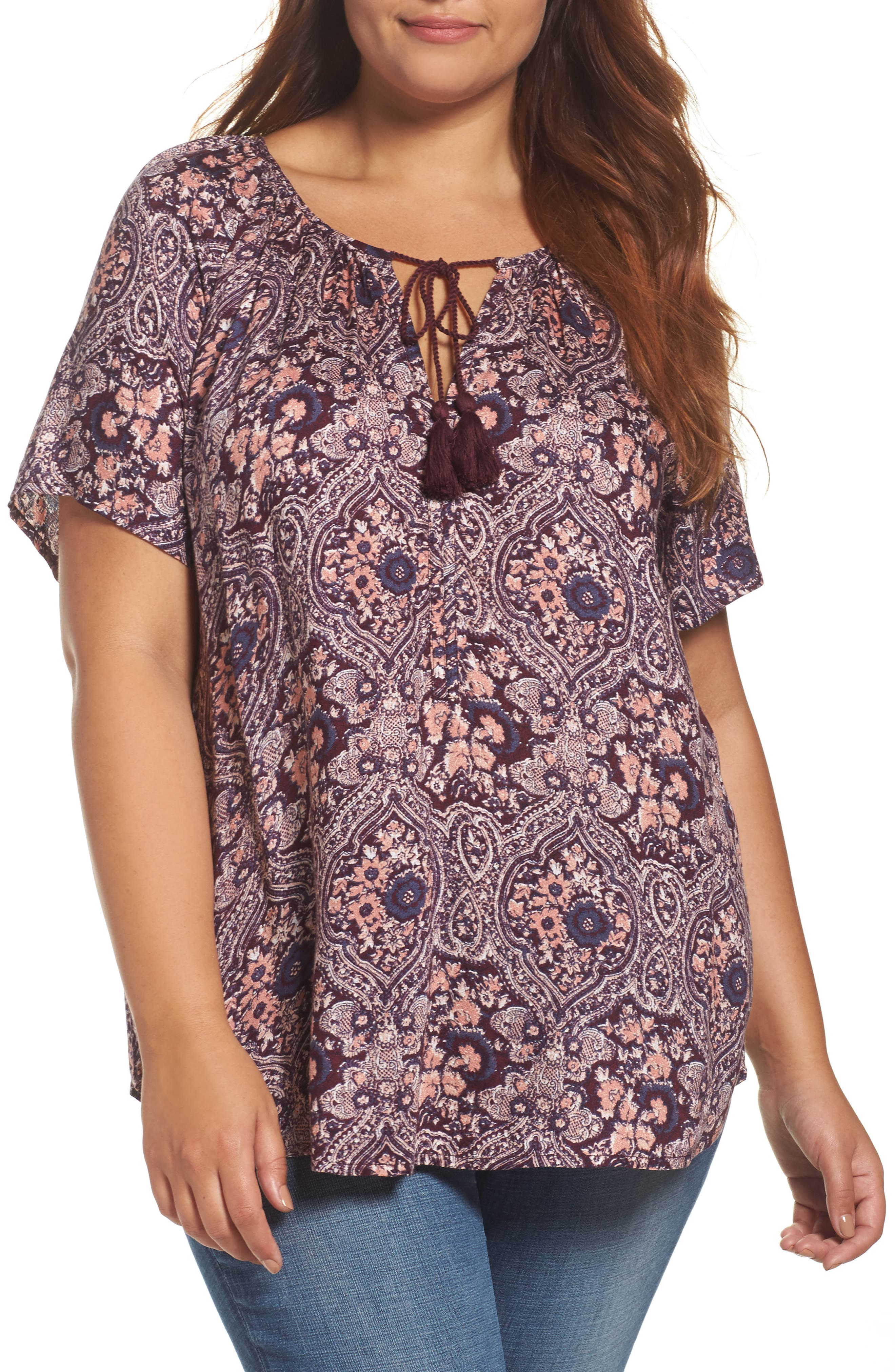 Lucky Brand Print Peasant Top (Plus Size)