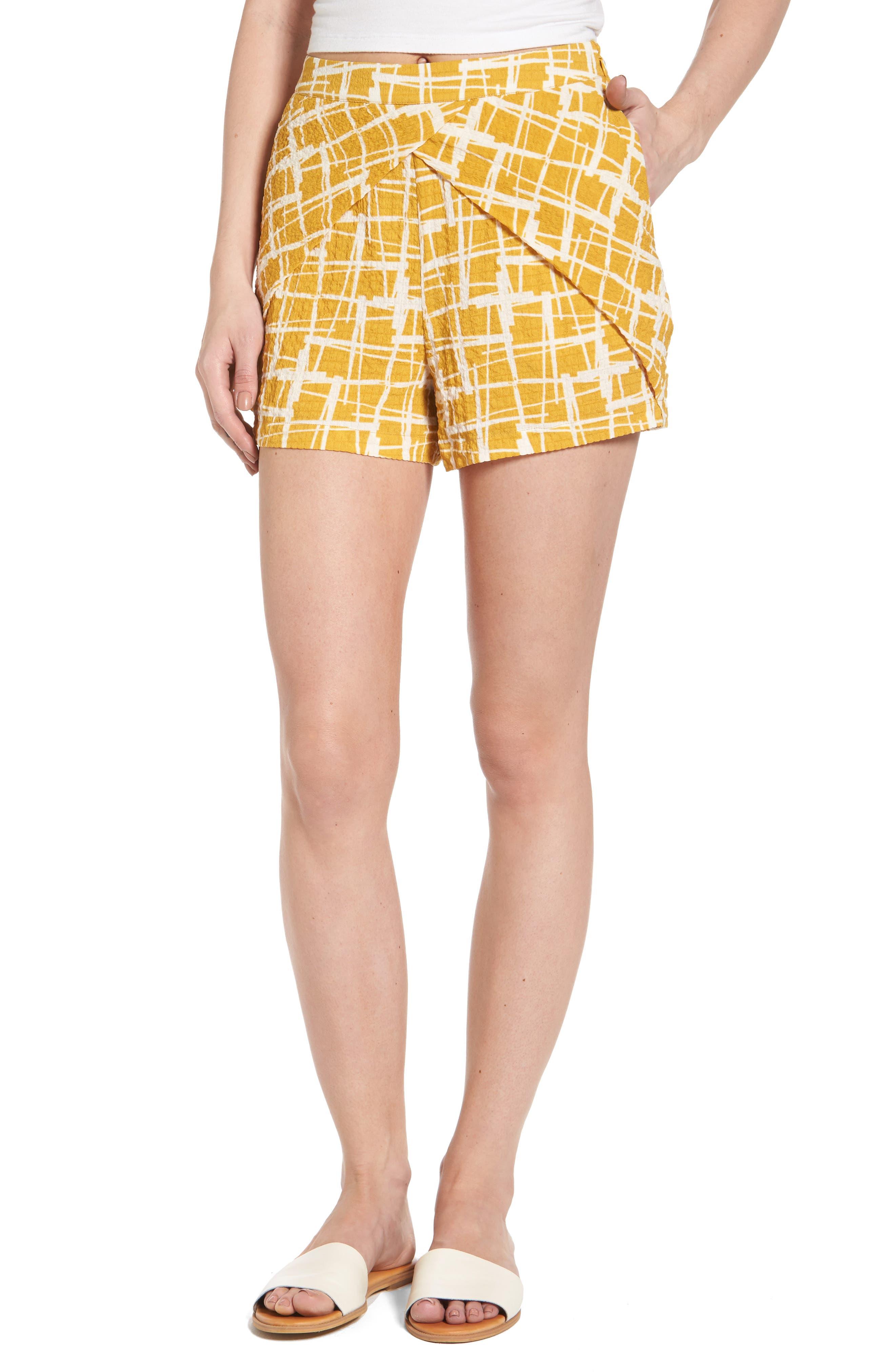 J.O.A. Faux Wrap Print Shorts