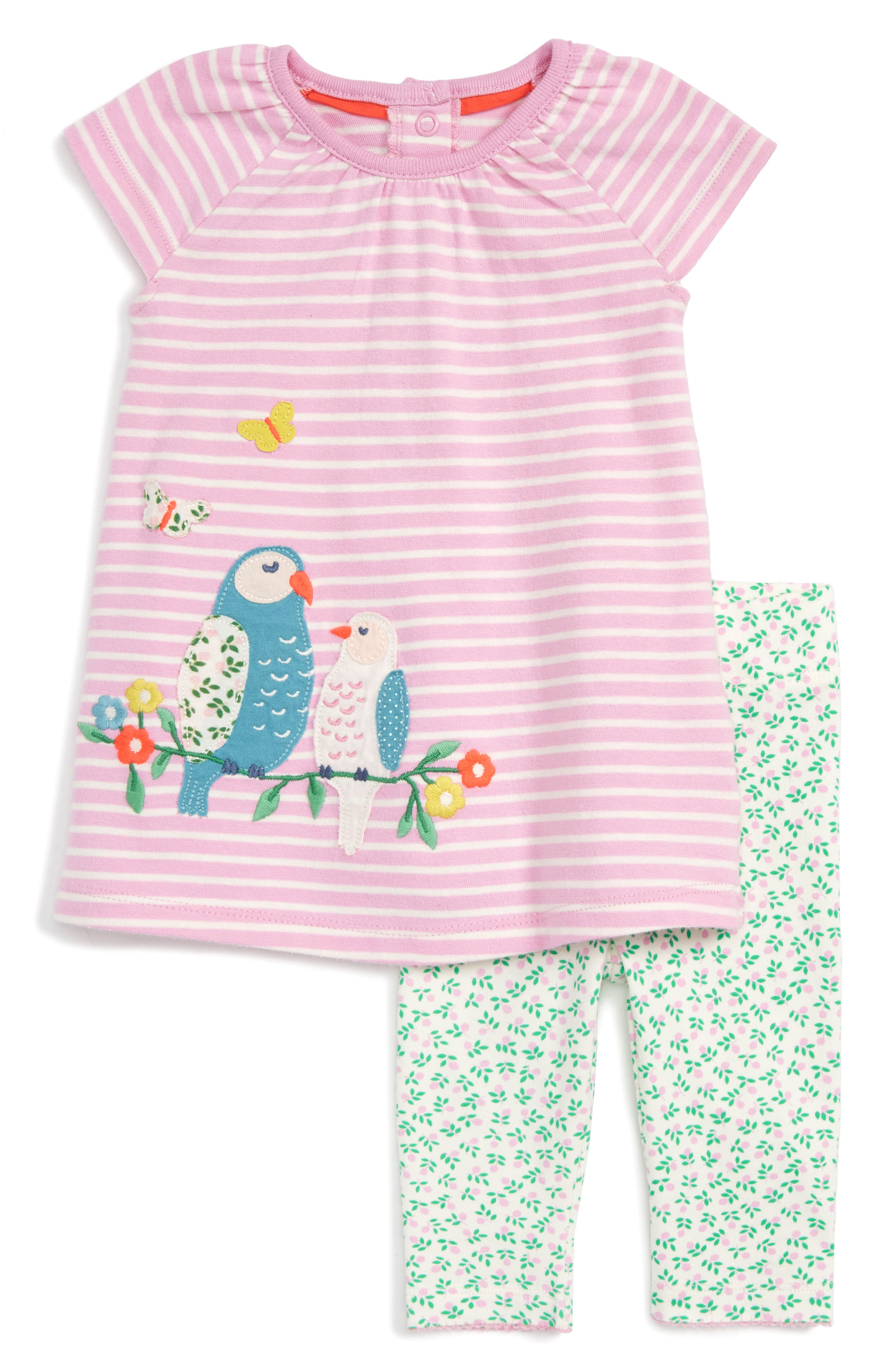 Mini Boden Bird Appliqué Dress & Leggings Set (Baby Girls)