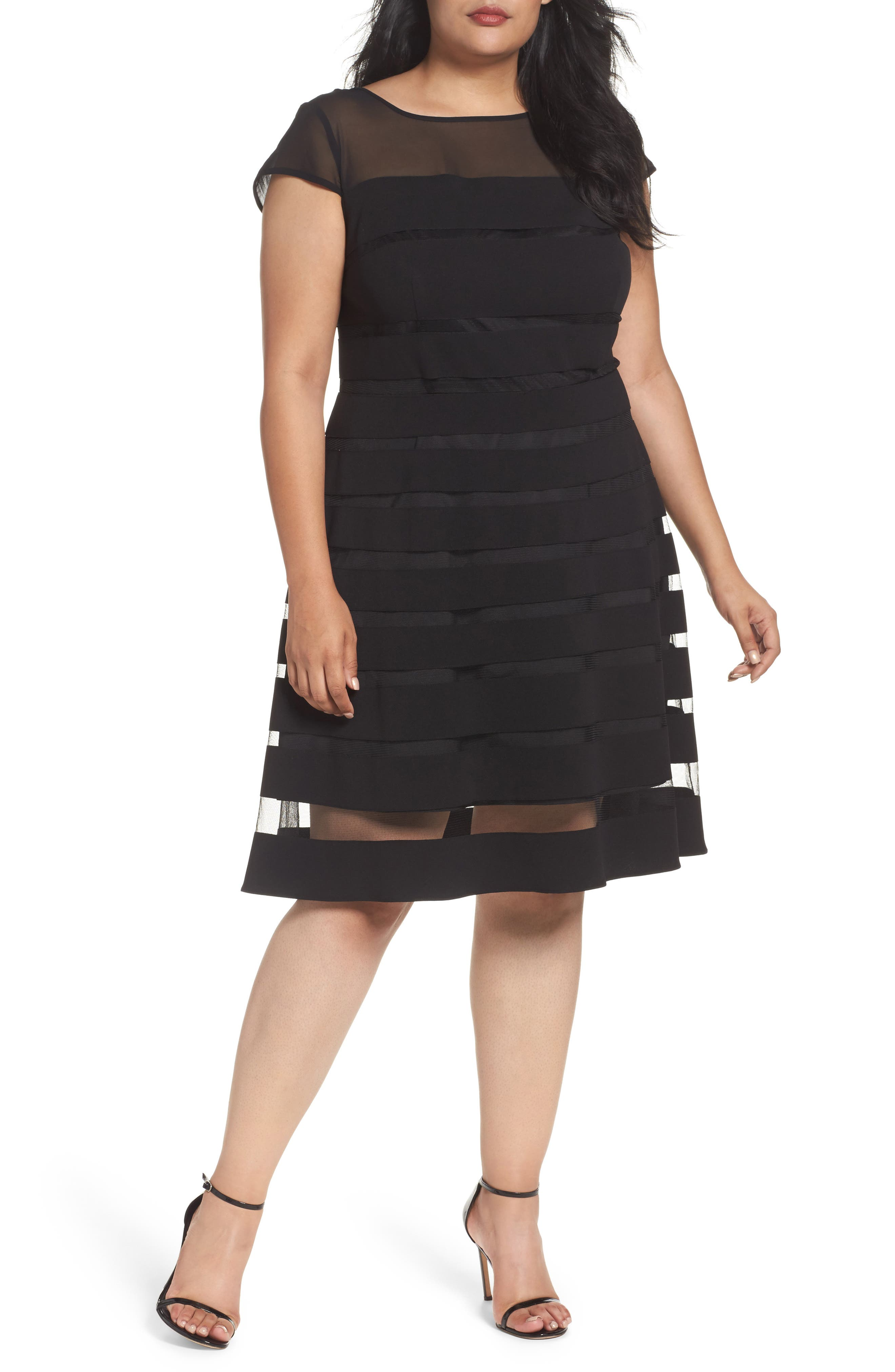 Adrianna Papell Chiffon Inset Fit & Flare Dress (Plus Size)