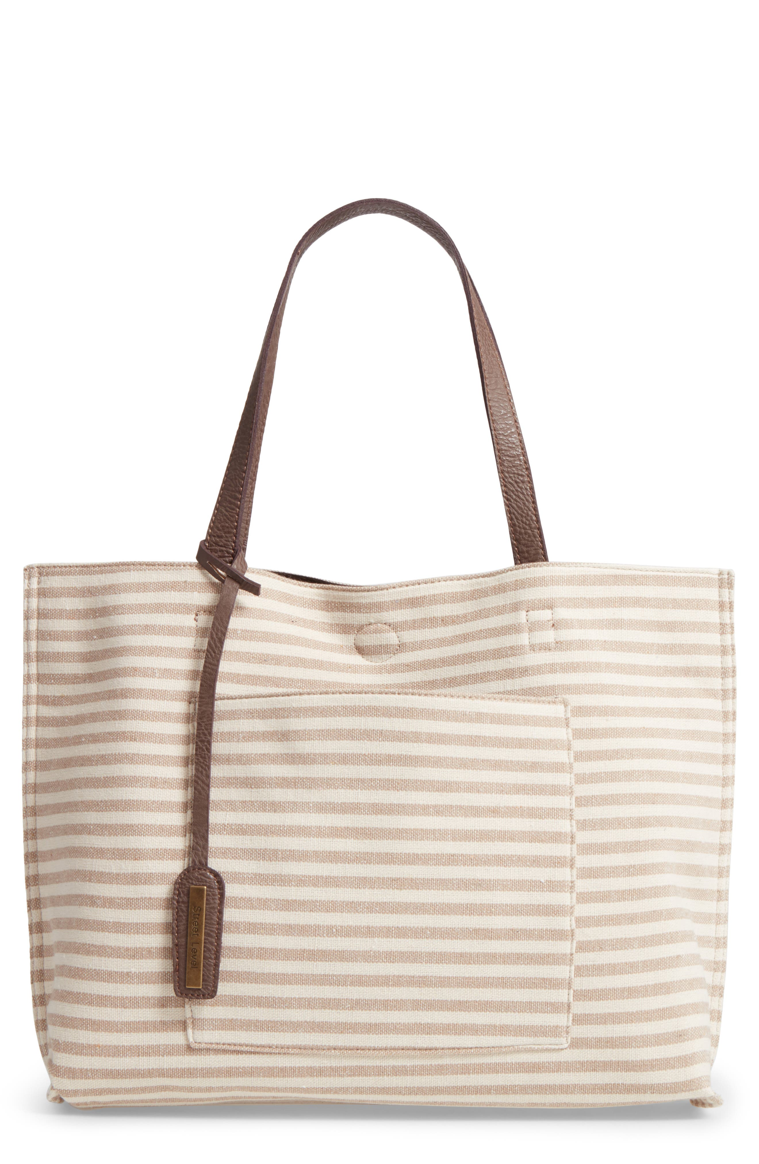 Street Level Reversible Stripe & Faux Leather Tote