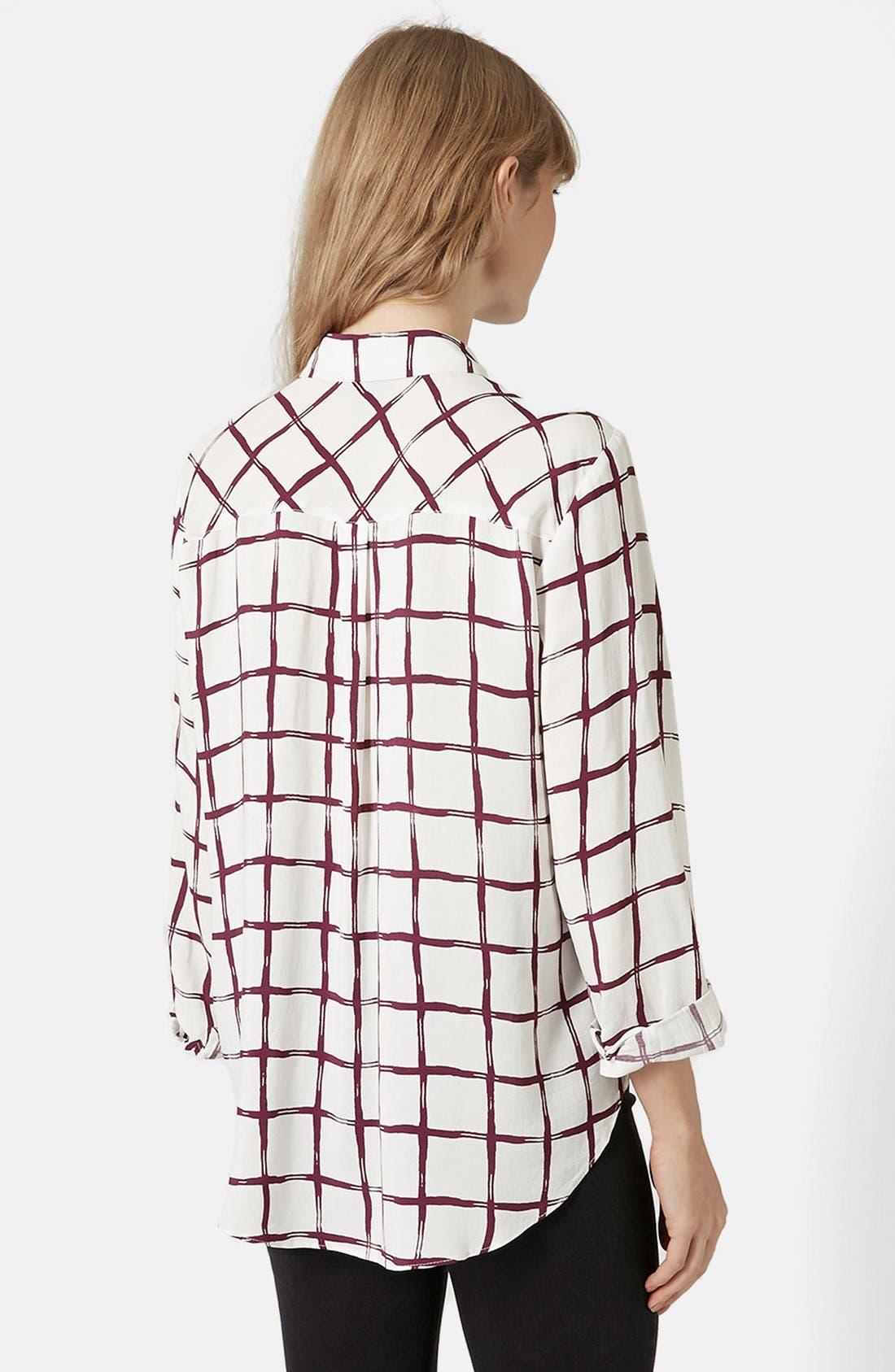 Alternate Image 2  - Topshop Windowpane Curve Hem Shirt