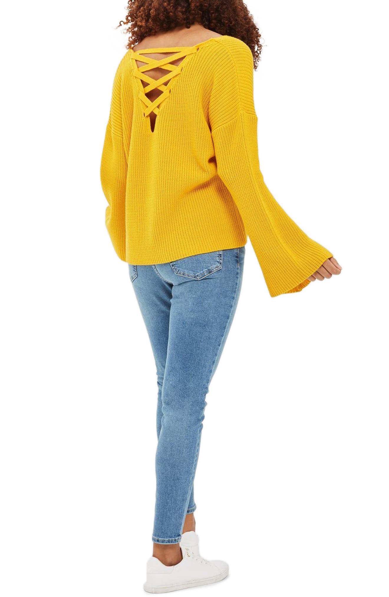 Alternate Image 2  - Topshop Lattice Back Sweater