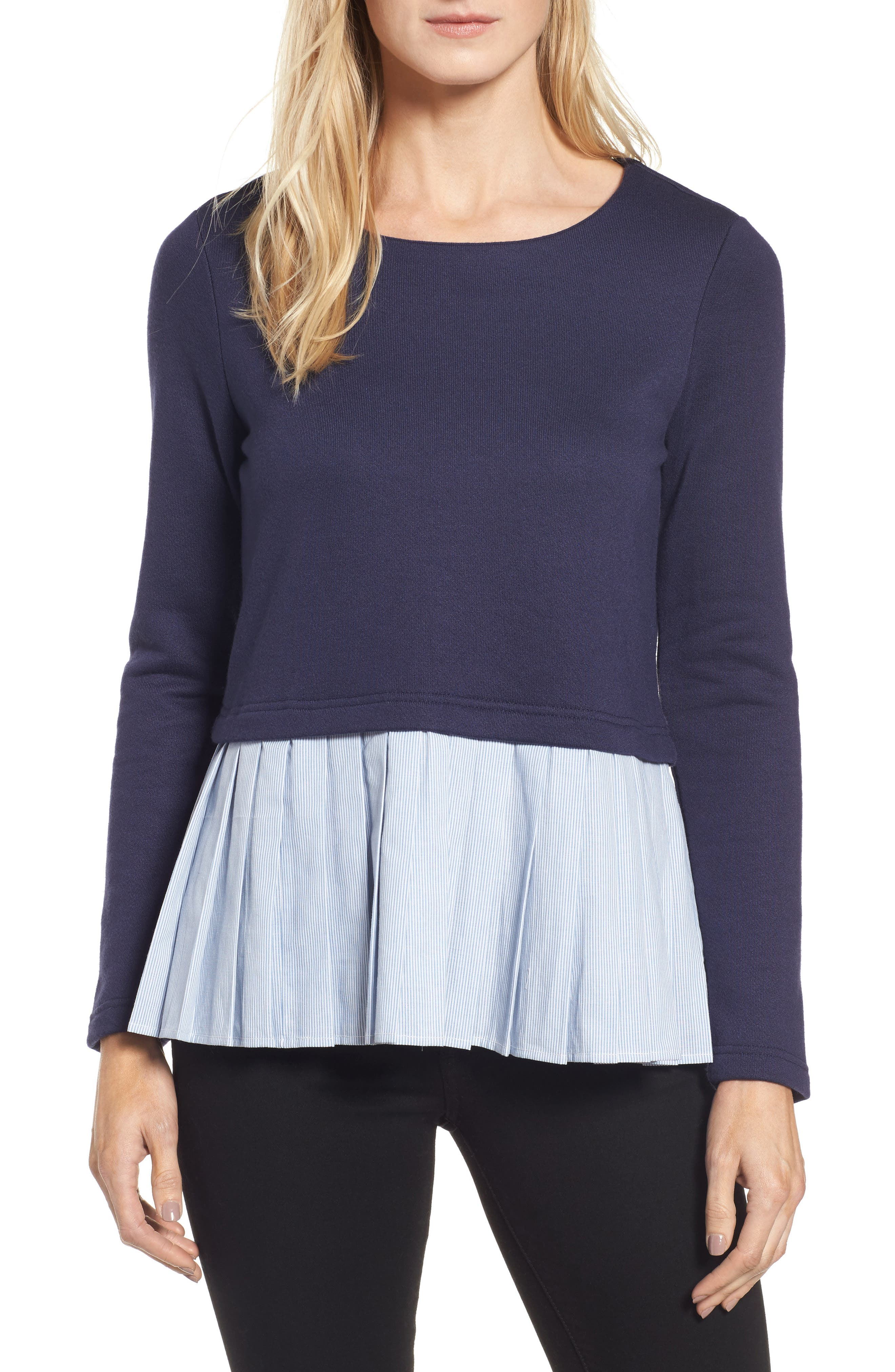 Pleione Pleat Inset French Terry Top (Regular & Petite)