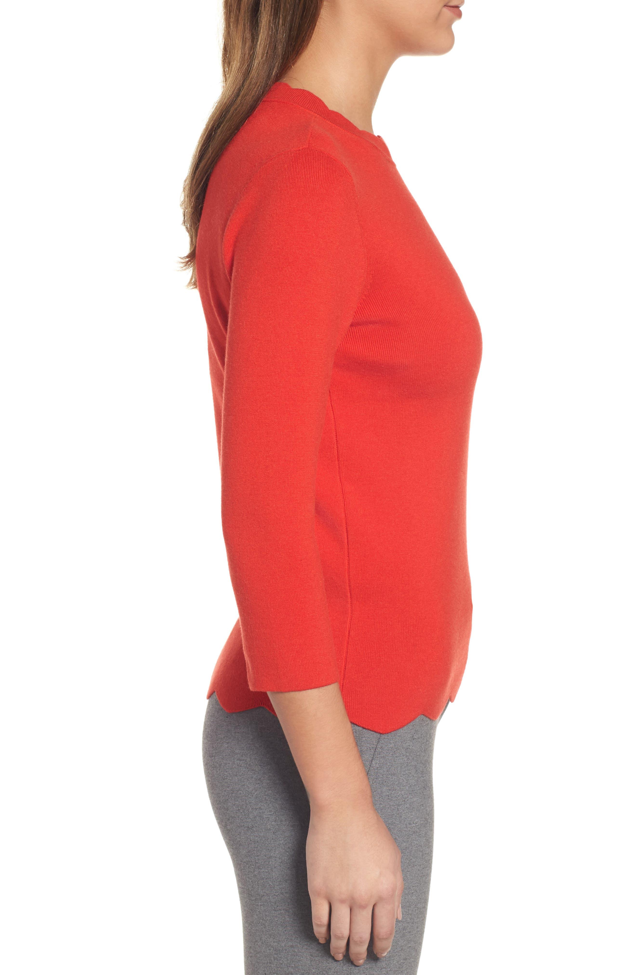 Alternate Image 4  - Halogen Scallop Edge Sweater (Regular & Petite)