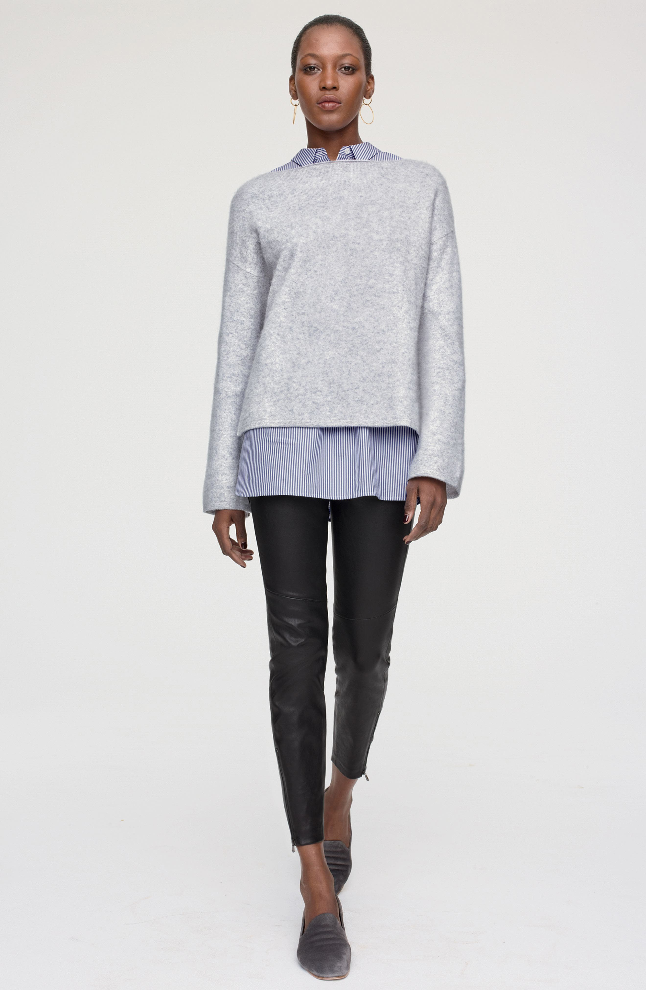 Nordstrom Signature Pullover, Shirt & Leather Pants Outfit with Accessories