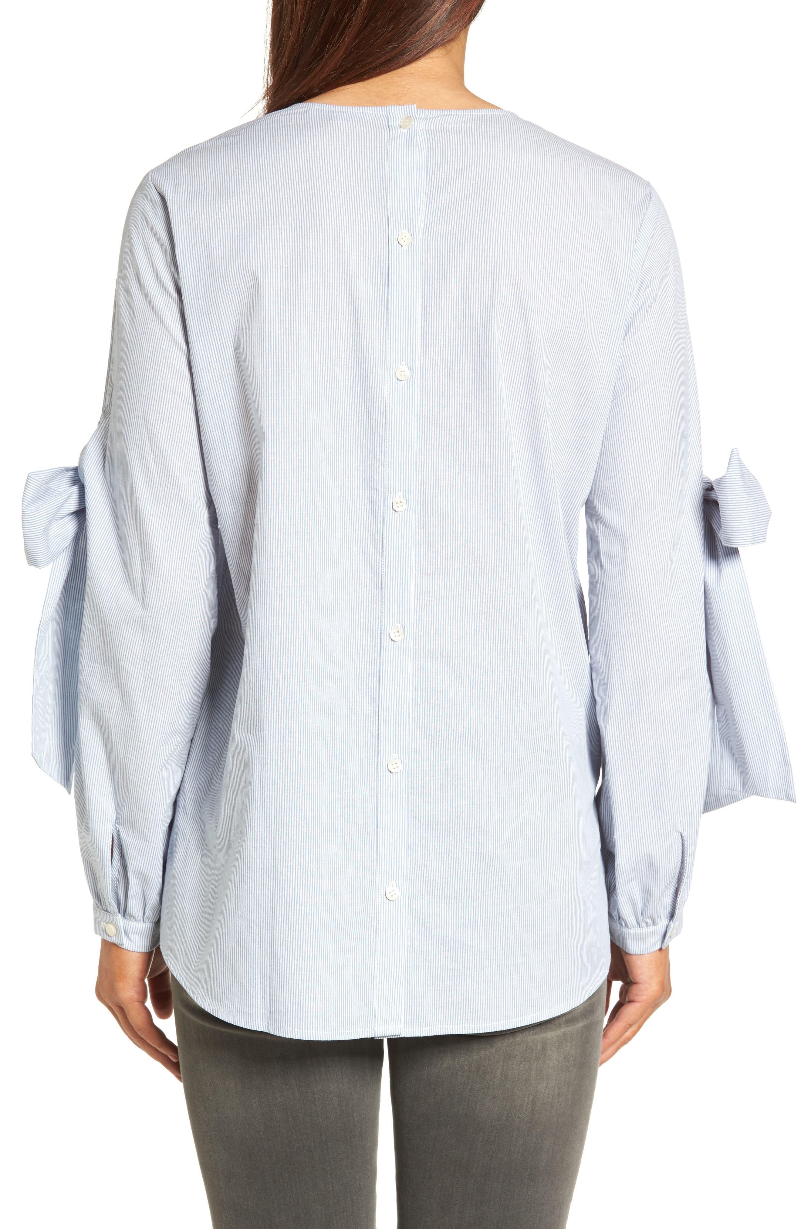 Alternate Image 2  - Pleione Tie Sleeve Poplin Blouse (Regular & Petite)