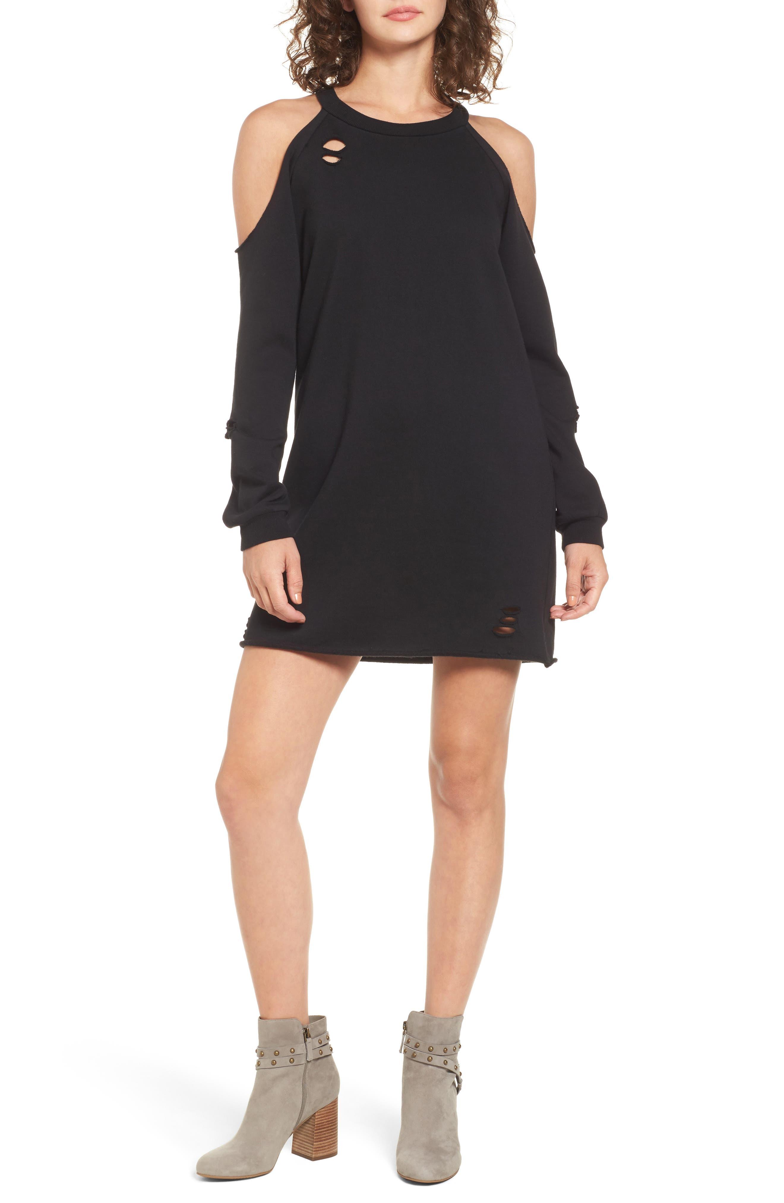 Socialite Cold-Shoulder Sweatshirt Dress