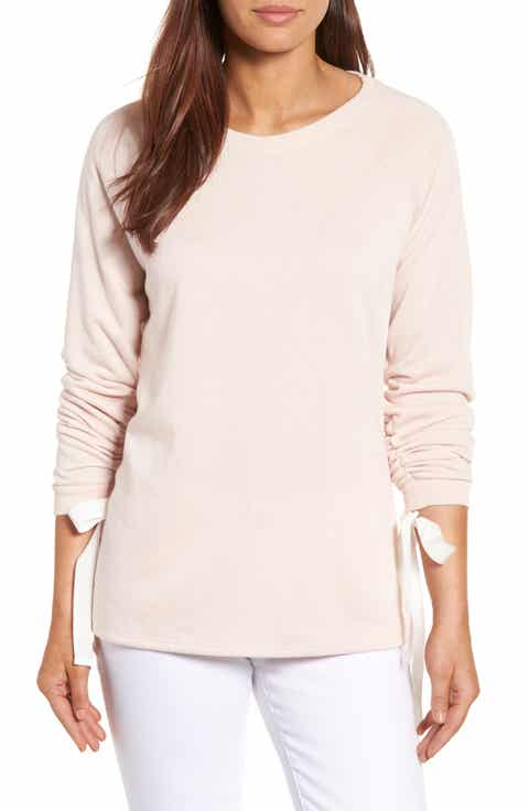 Caslon® Tie Ruched Sleeve Sweatshirt (Regular   Petite)